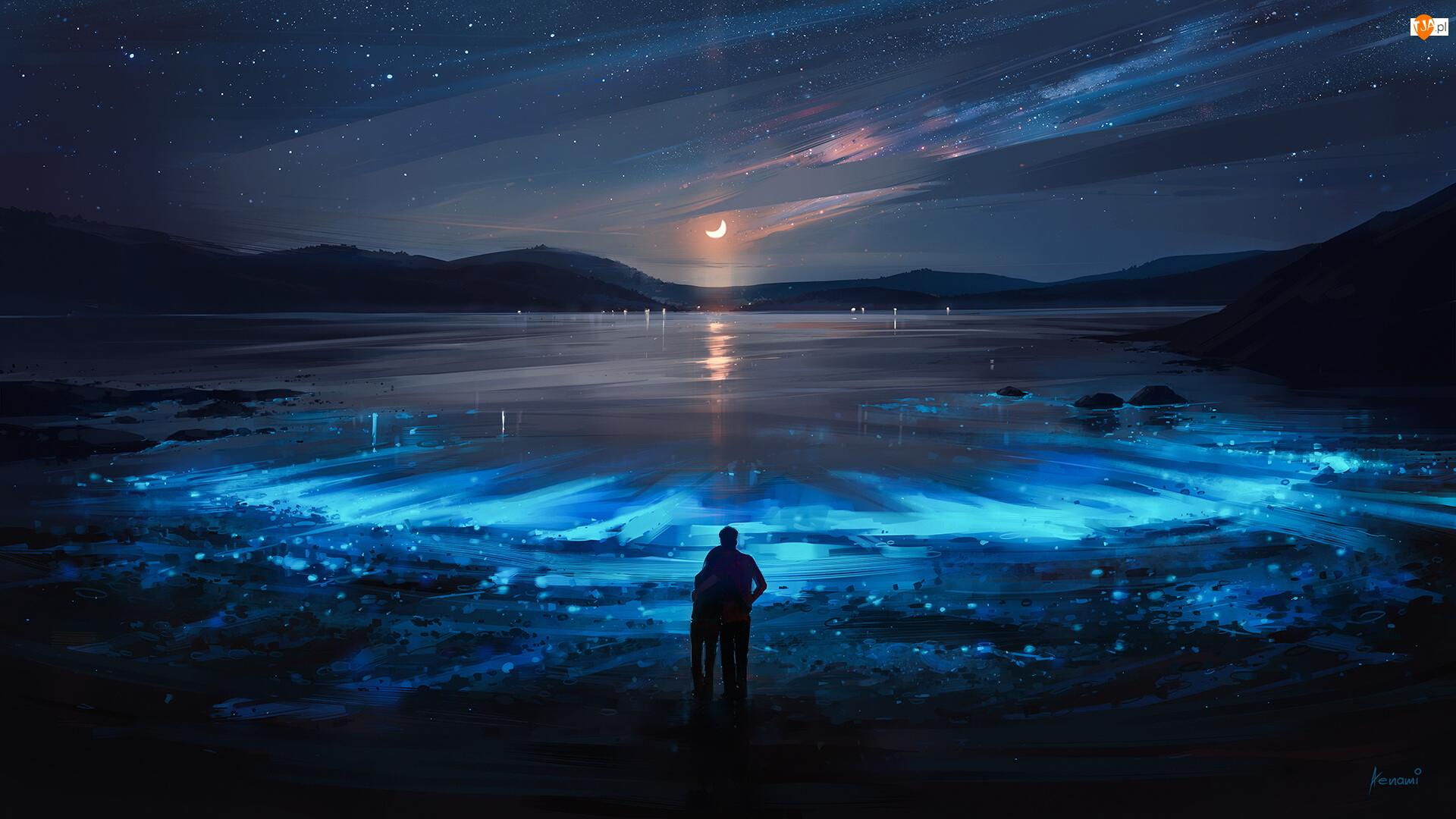 Jezioro, Góry, Księżyc Paintography, Grafika, Noc, Zakochani, Ludzie