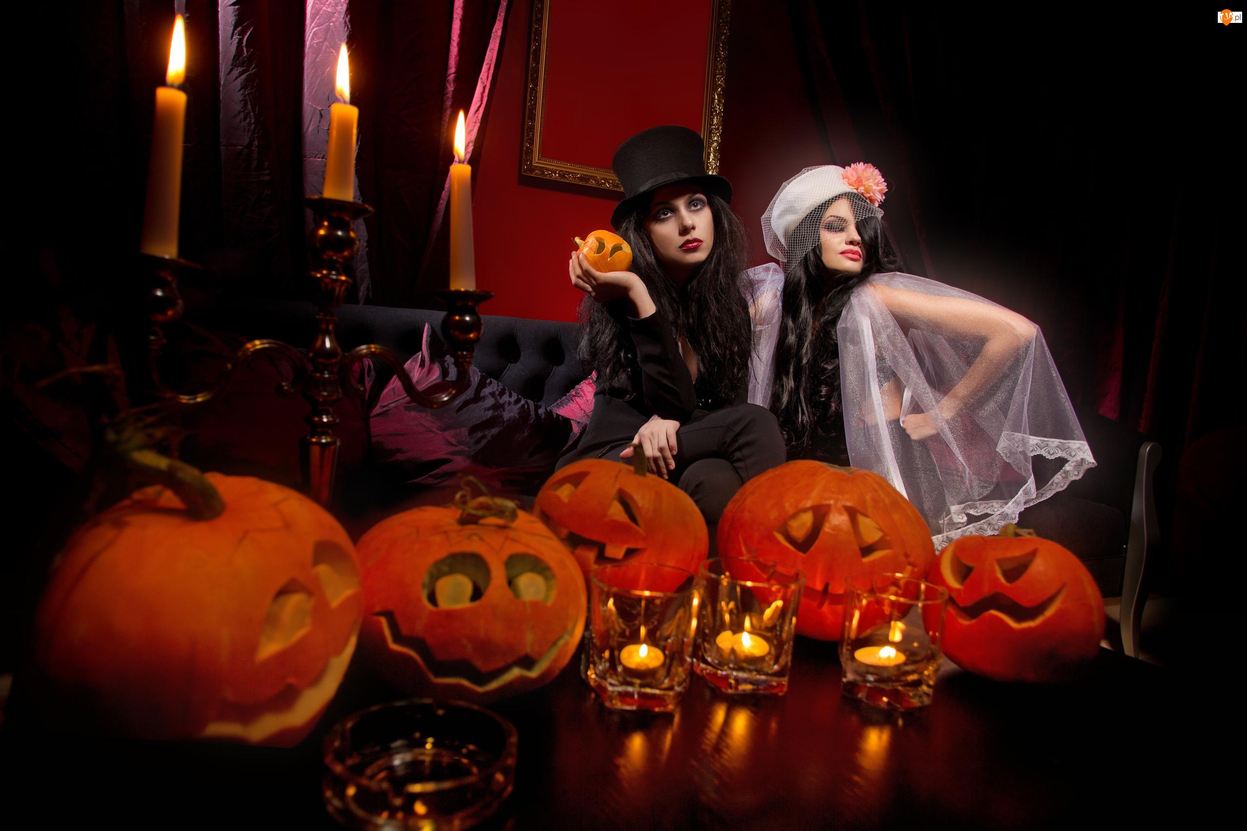 Stroje, Halloween, Dynie, Świece Kobiety