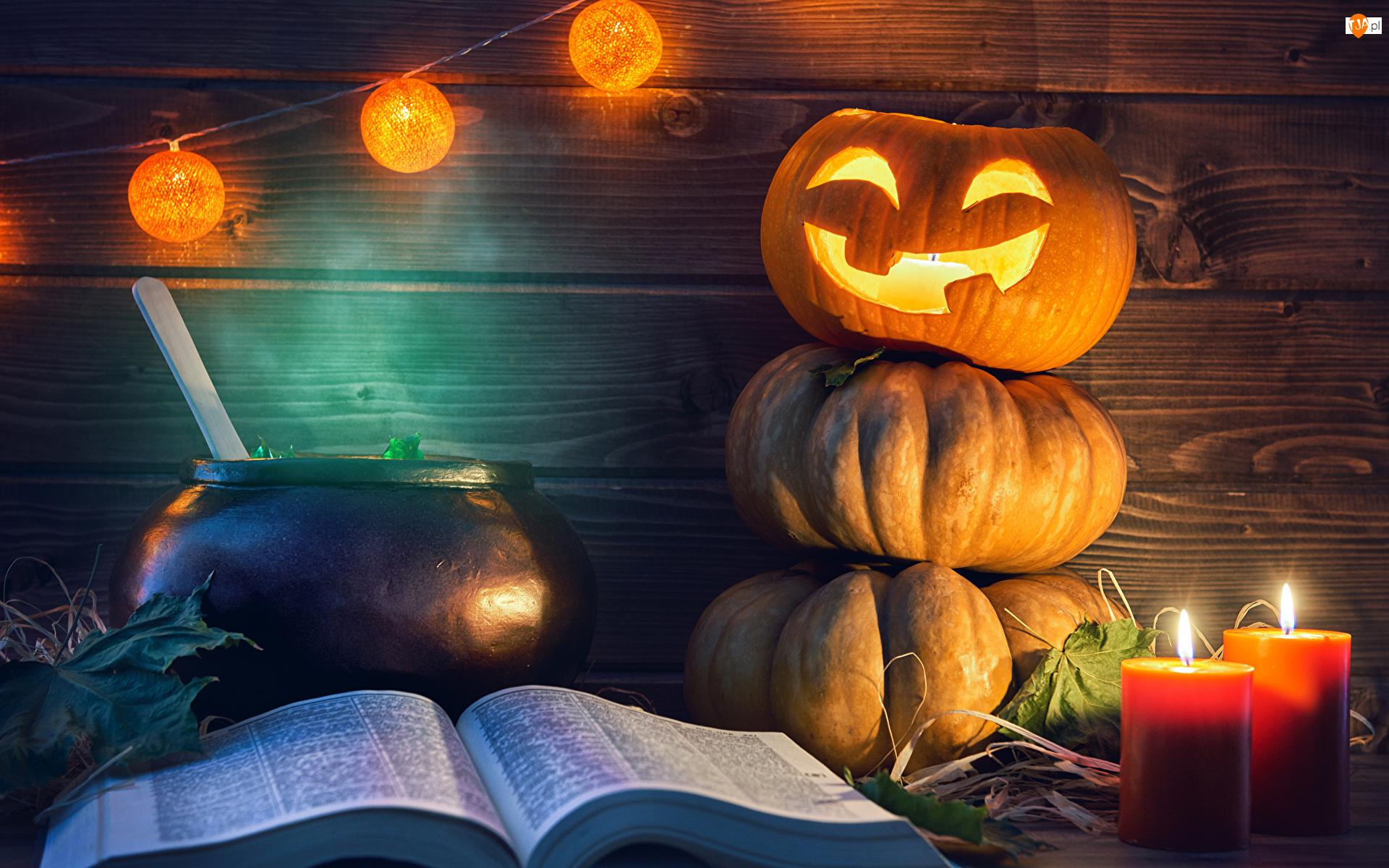 Lampion, Świece, Dynie, Halloween, Książka