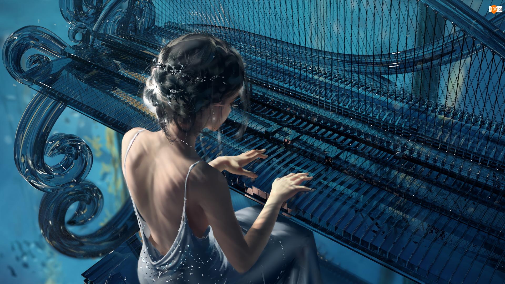 Grafika Paintography, Dziewczyna, Fortepian