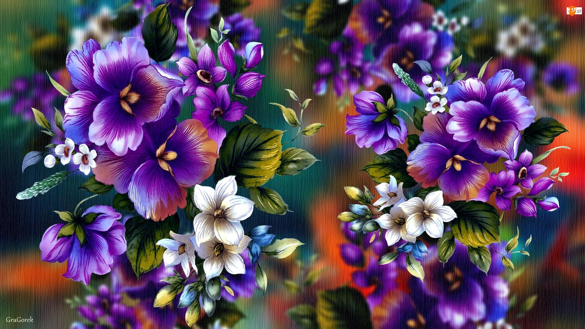 2D, Fioletowe, Kwiaty