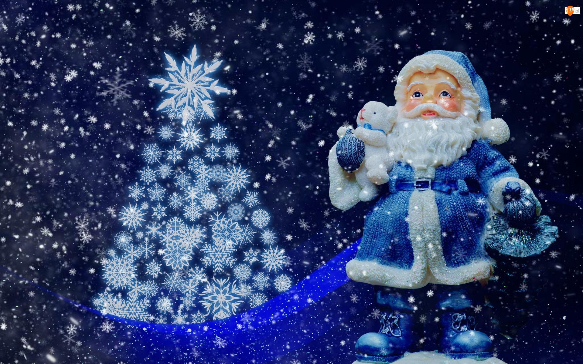 Choinka, Grafika, Boże Narodzenie, Mikołaj