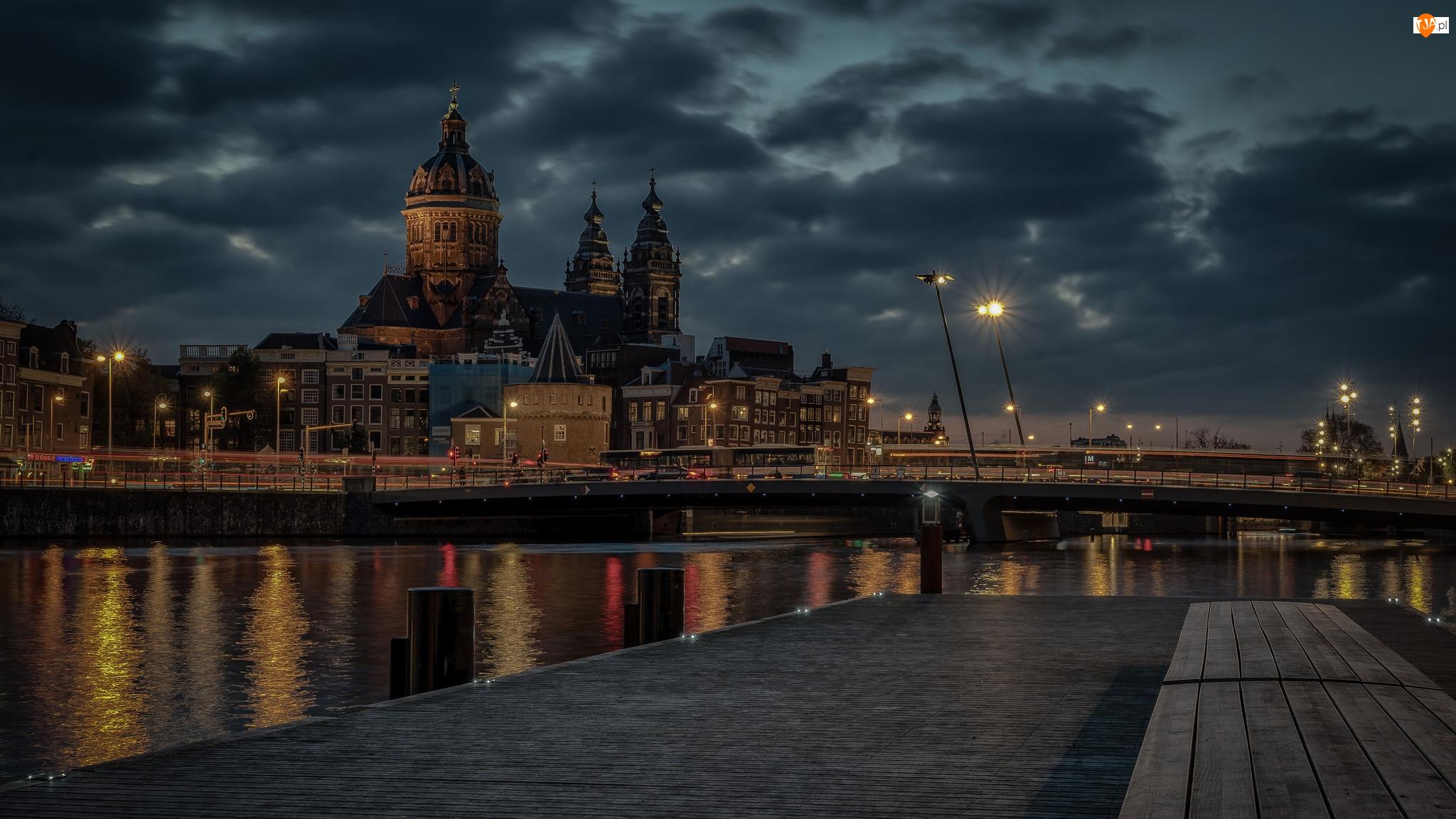 Chmury, Most, Zmierzch, Latarnie, Amsterdam, Holandia, Bazylika św Mikołaja, Kościół, Rzeka IJ, Niebo