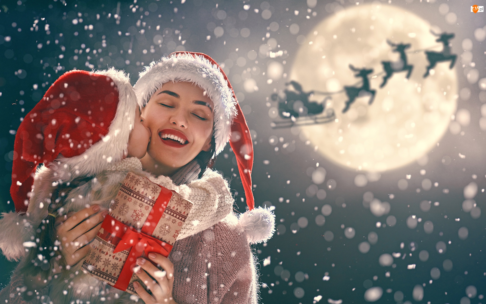 Kobieta, Boże Narodzenie, Prezent, Mikołajki, Dziecko, Czapki