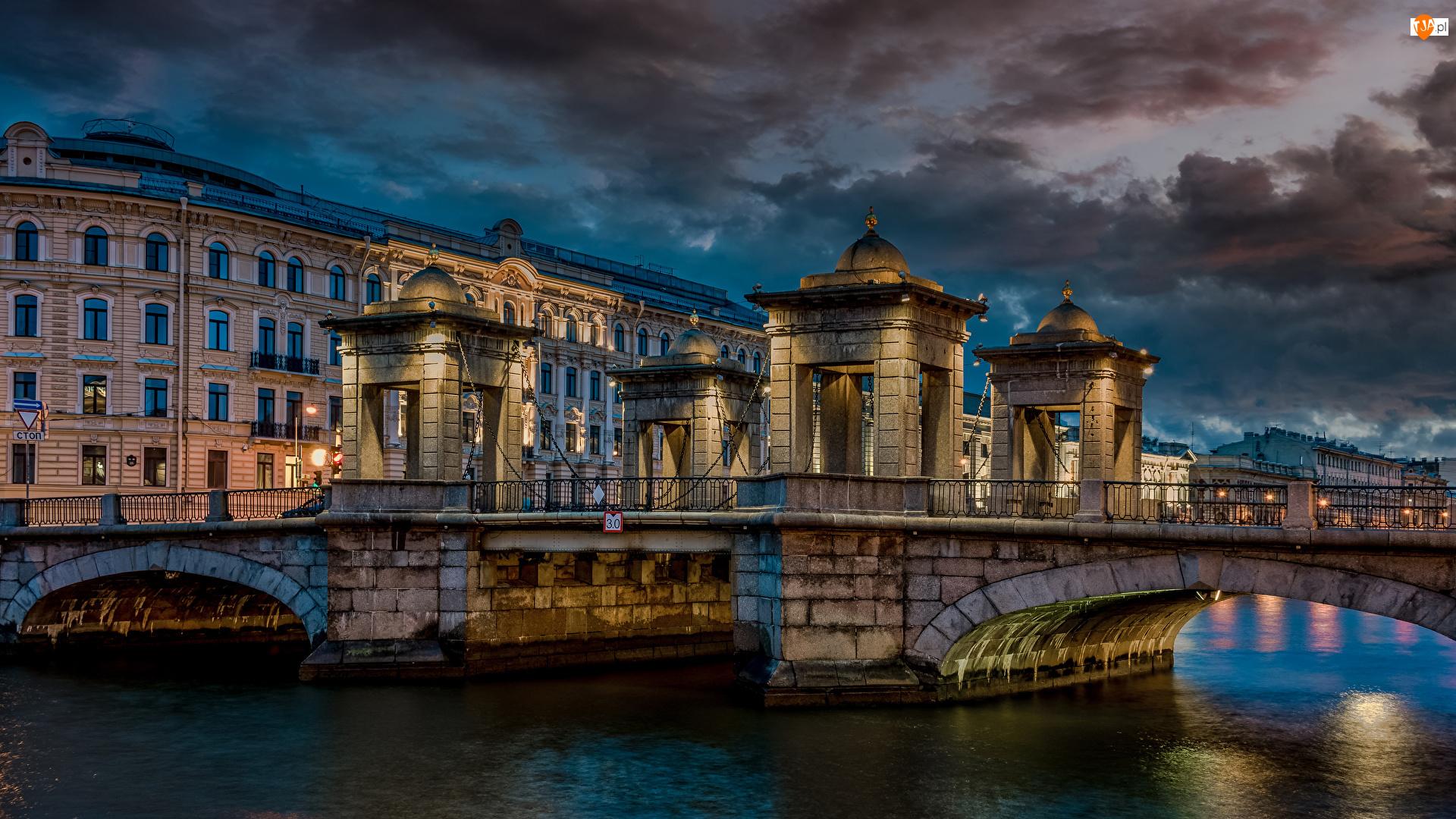 Wieczór, Most Łomonosowa, Rzeka Fontanka, Rosja, Domy, Sankt Petersburg