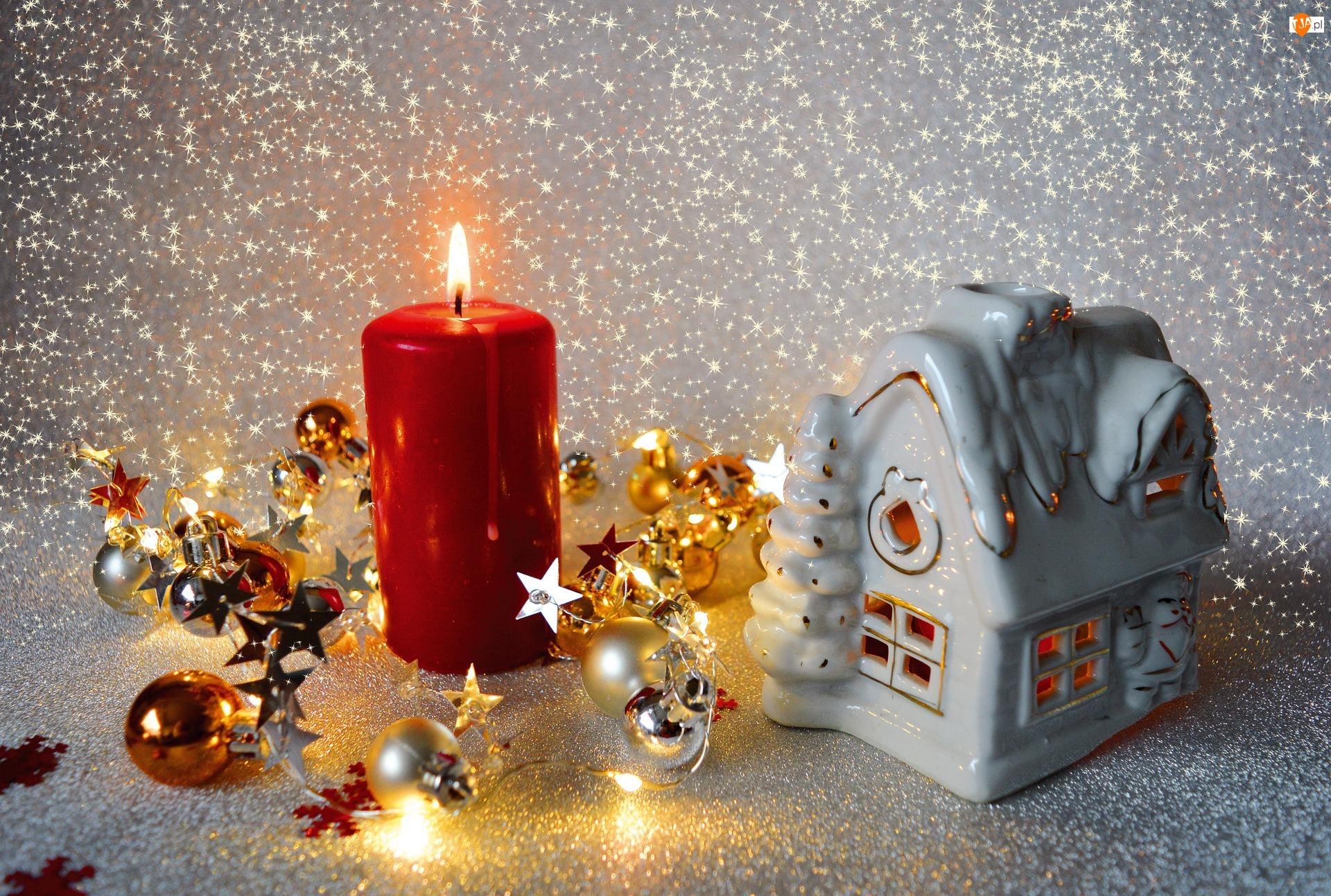 Lampion, Bombki, Domek, Boże Narodzenie, Świeca