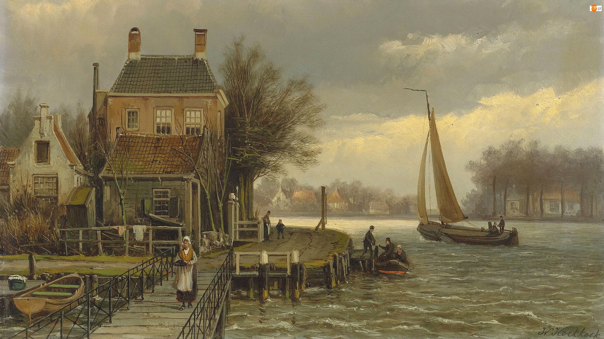 Obraz, Willem Koekkoek, Żaglówka, Malarstwo, Jezioro, Pomost, Dom