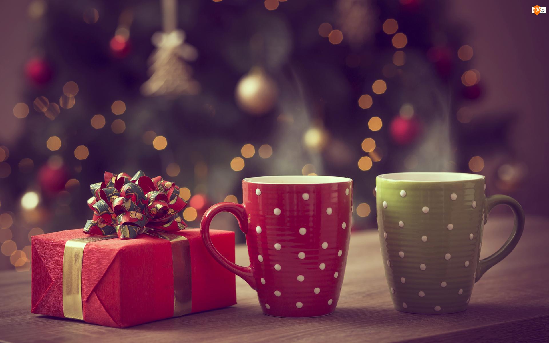 Tło, Świąteczna, Rozmyte, Kubki, Kawa, Prezent, Kokarda, Kompozycja, Dwa