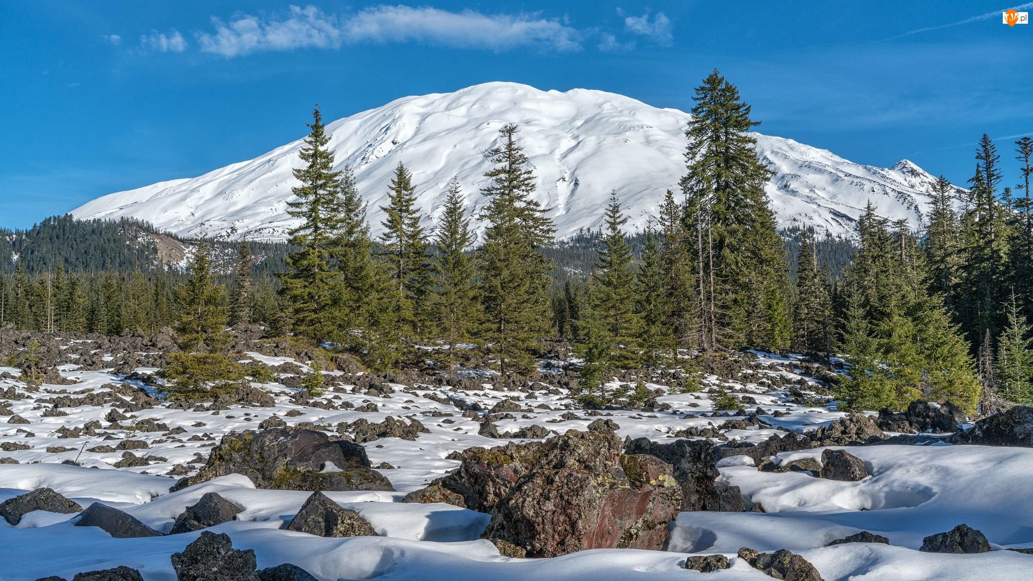 Góra, Kamienie, Śnieg, Zima, Drzewa