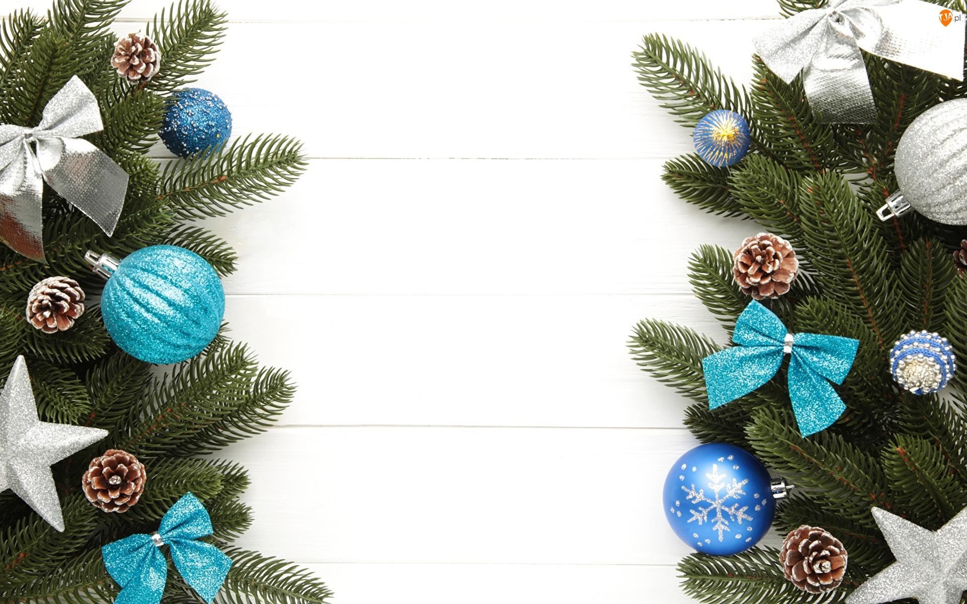 Kompozycja, Boże Narodzenie, Kokardy, Świąteczna, Szyszki, Bombki, Gałązki