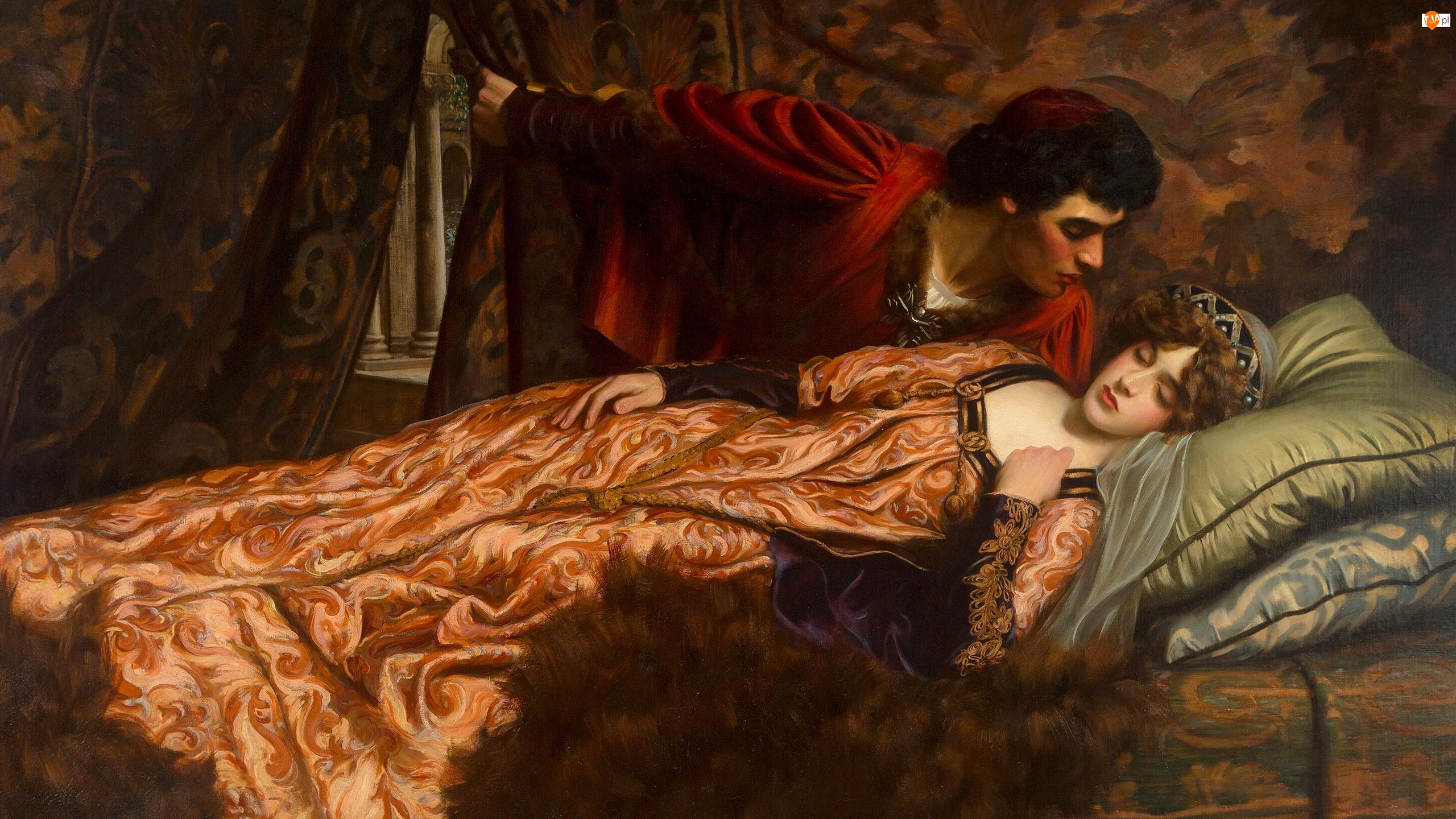 Obraz, Malarstwo, Mężczyzna, Kobieta, John Frederick Harrison Dutton, Śpiąca