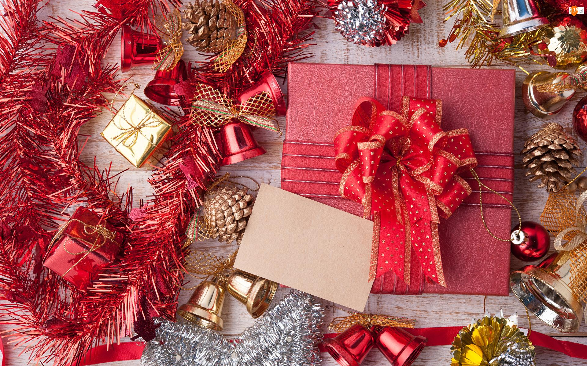 Prezent, Świąteczny, Szyszki, Kompozycja, Dzwoneczki, Łańcuch