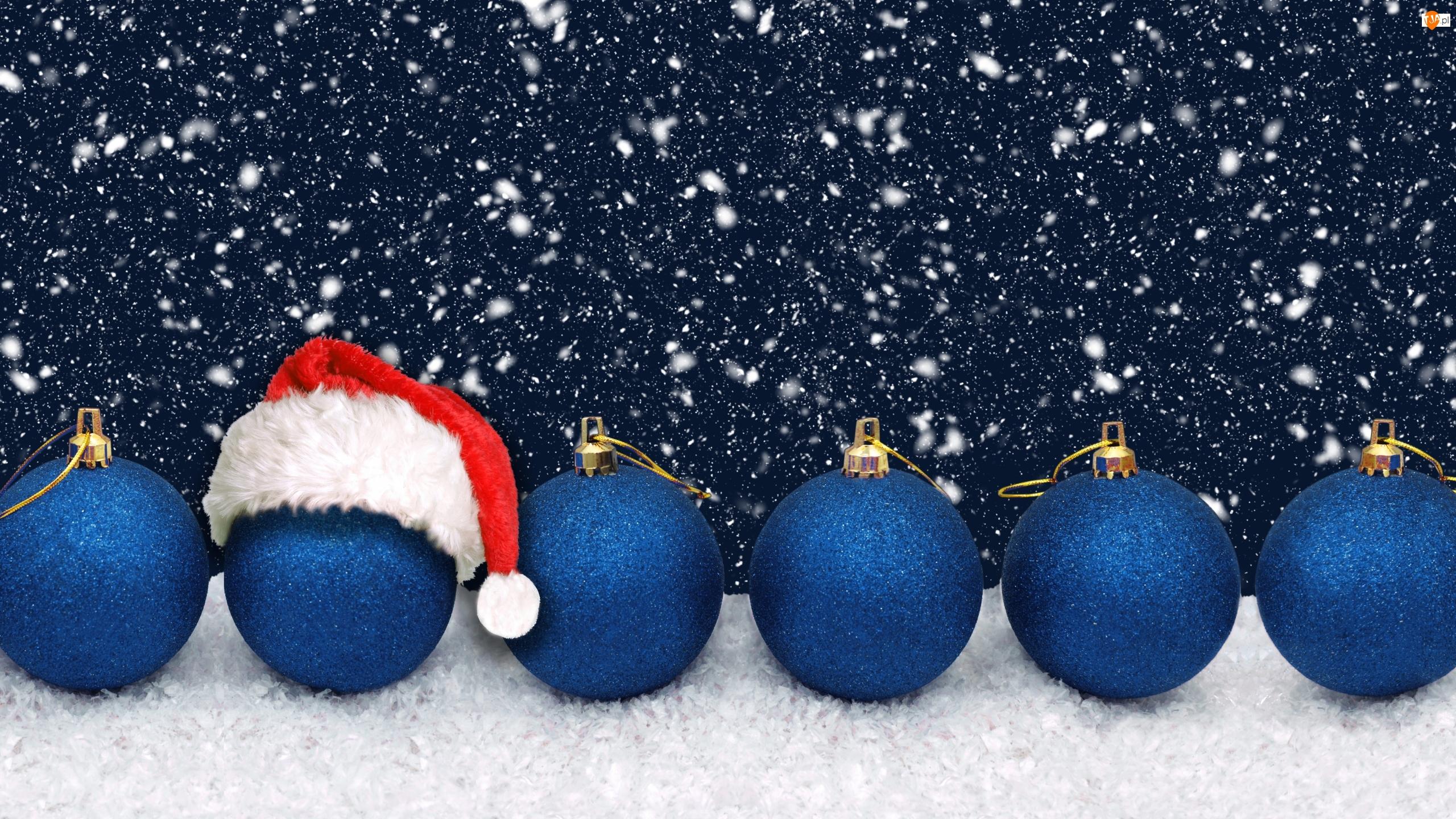 Czapka, Śnieg, Bombki, Niebieskie, Mikołaja