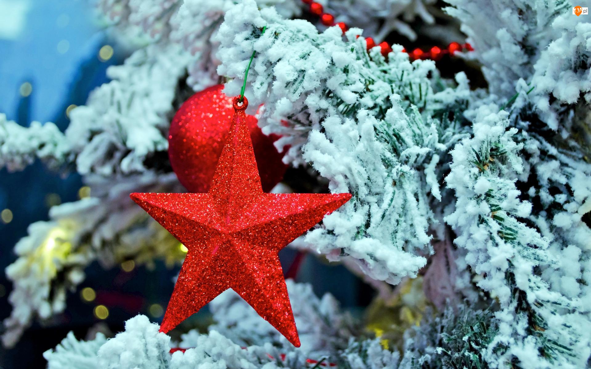 Bombka, Boże Narodzenie, Gwiazdka, Czerwona, Koraliki