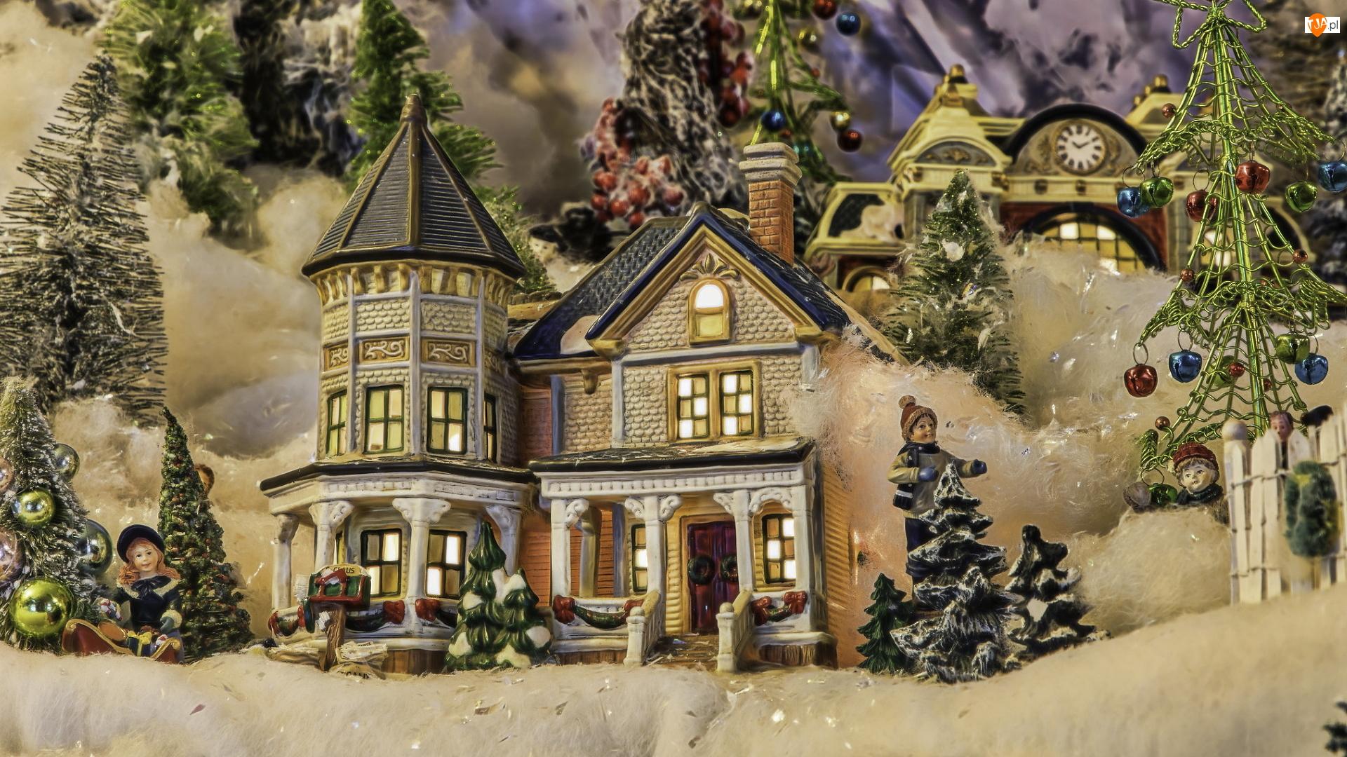 Dekoracja, Boże Narodzenie, Figurki, Choinki, Kompozycja, Domek