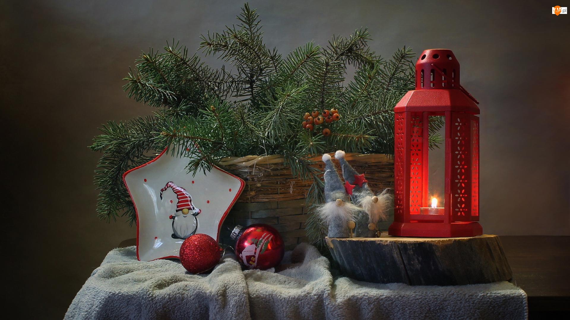 Boże Narodzenie, Lampion, Krasnale, Kompozycja, Gałązki, Koszyk, Bombki