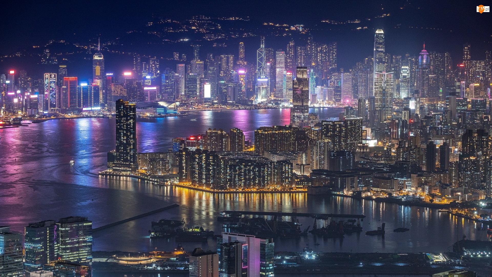 Chiny, Miasto nocą, Hongkong, Victoria Harbour, Rzeka Perłowa, Wieżowce, Zatoka, Noc, Port
