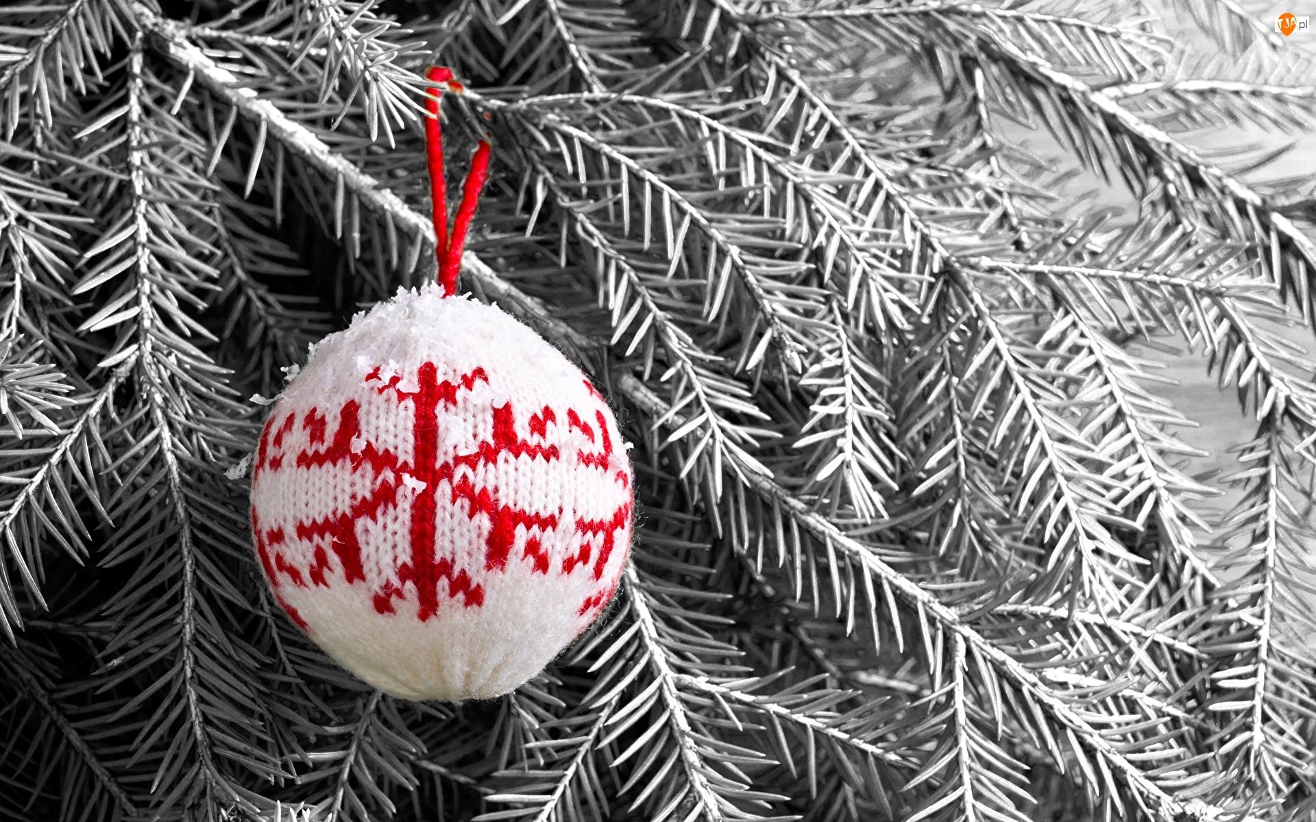 Bombka, Gałązki, Wełniana, Boże Narodzenie, Świerkowe
