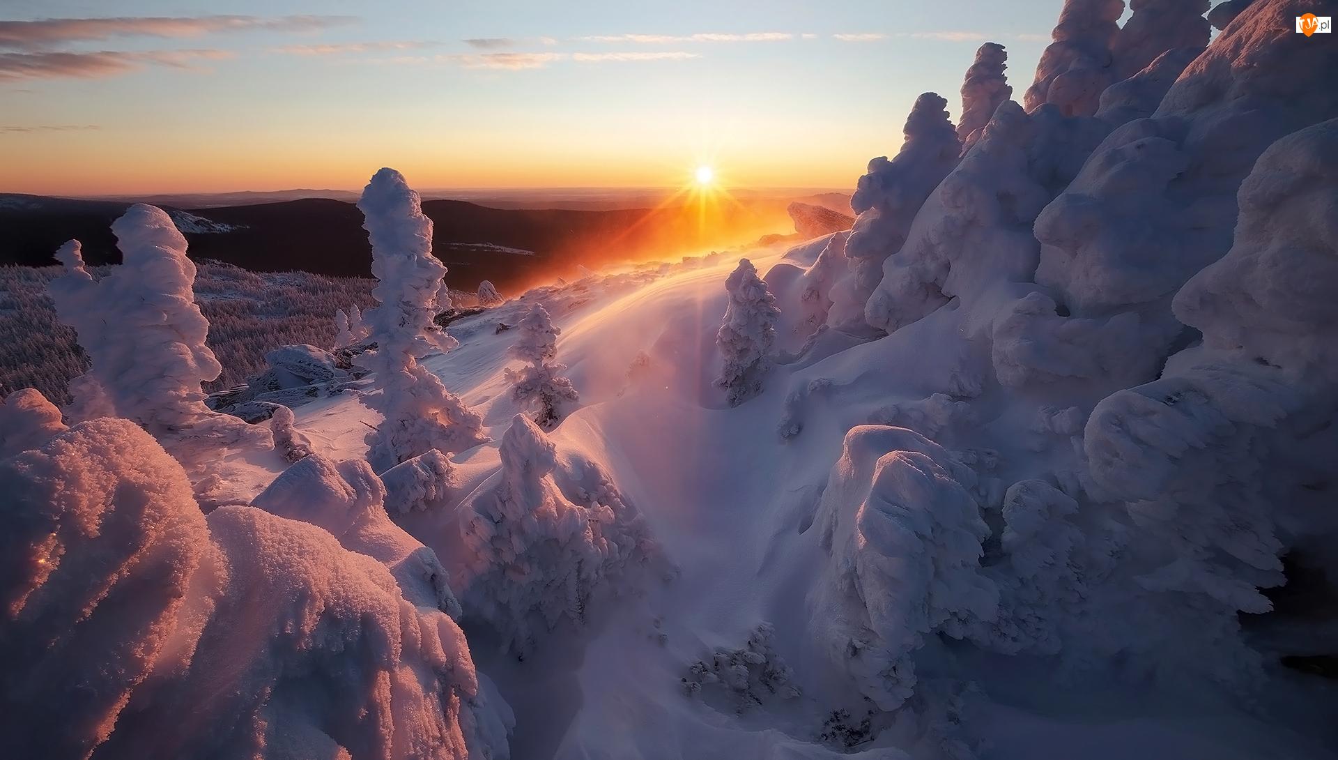Góry, Zima, Drzewa, Zachód słońca, Zaśnieżone, Promienie słońca