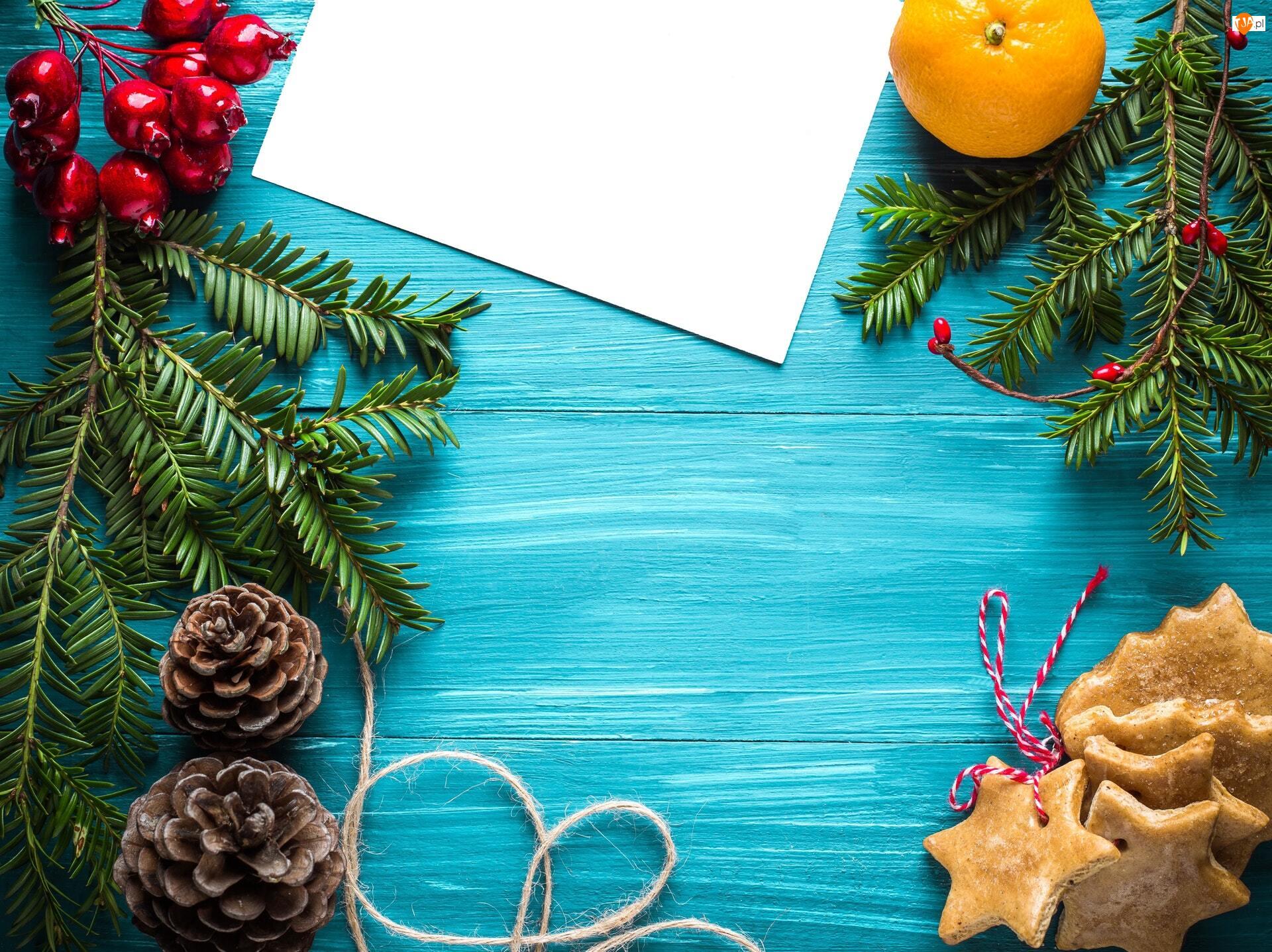 Gałązki, Boże Narodzenie, Pierniki, Kompozycja, Szyszki, Bilecik