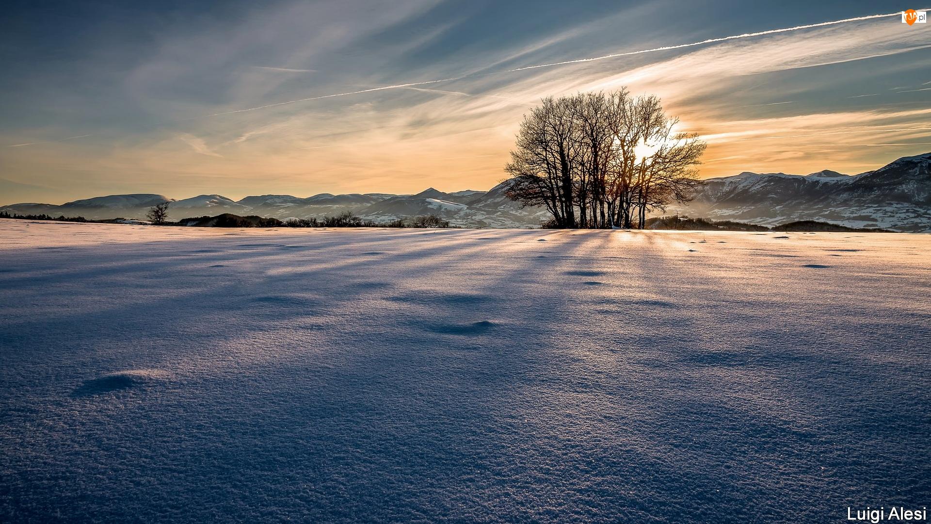 Góry, Zachód słońca, Śnieg, Zima, Drzewa