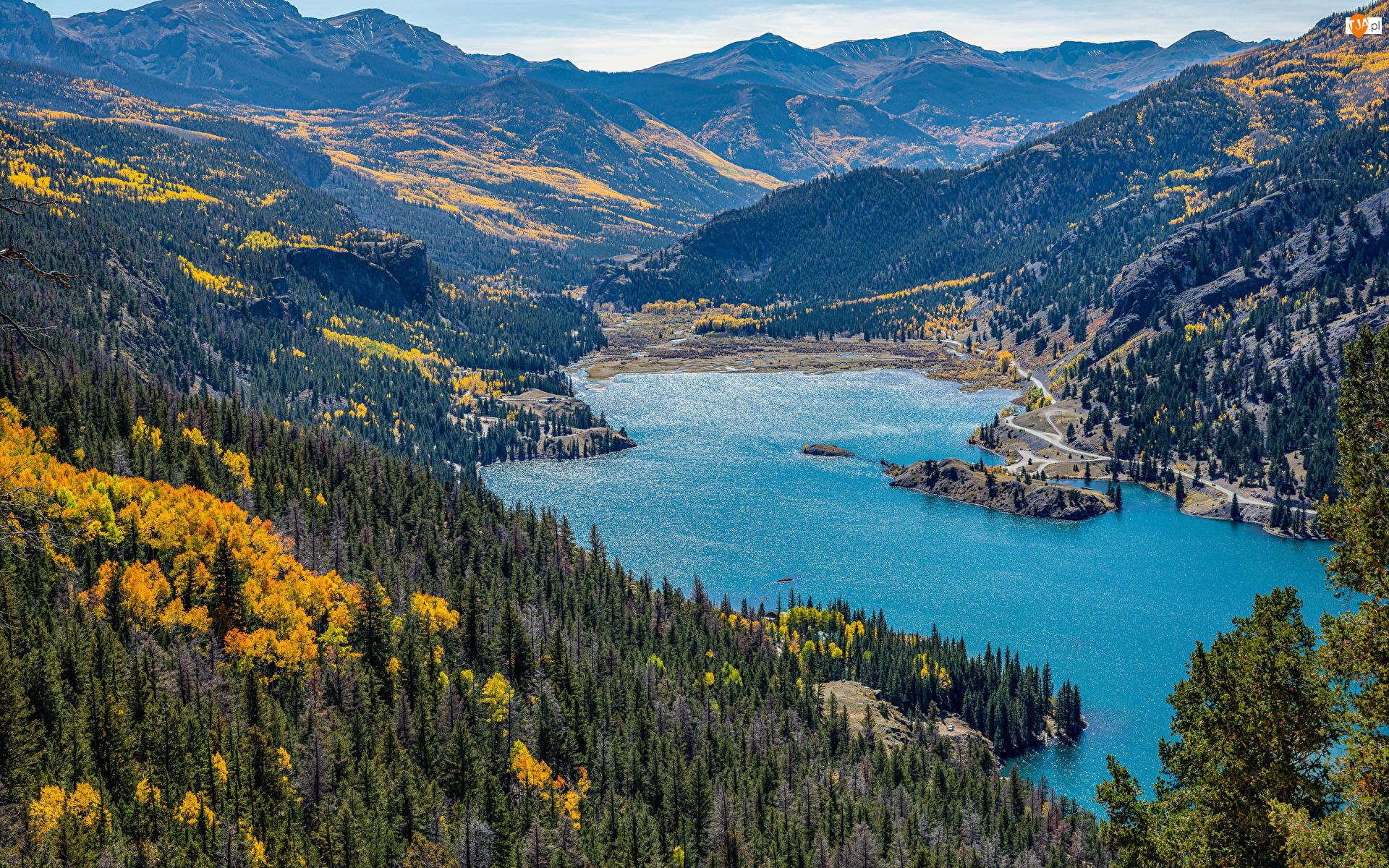 San Cristobal Lake, Góry, Stany Zjednoczone, Jezioro, Kolorado, Lasy, San Juan Mountains