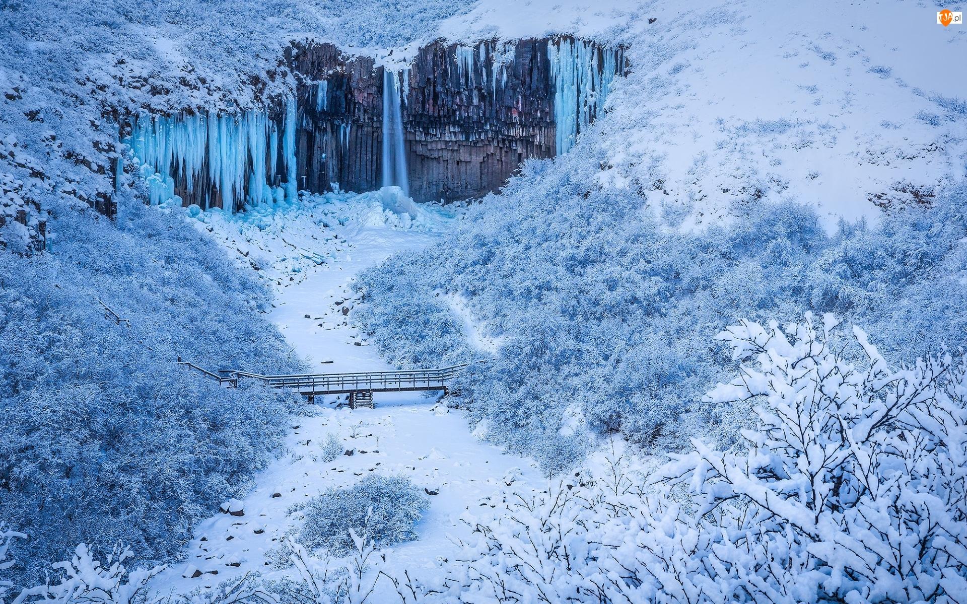 Islandia, Wodospad, Park Narodowy Vatnajokull, Most, Rzeka, Svartifoss Falls, Skały, Zima, Sople