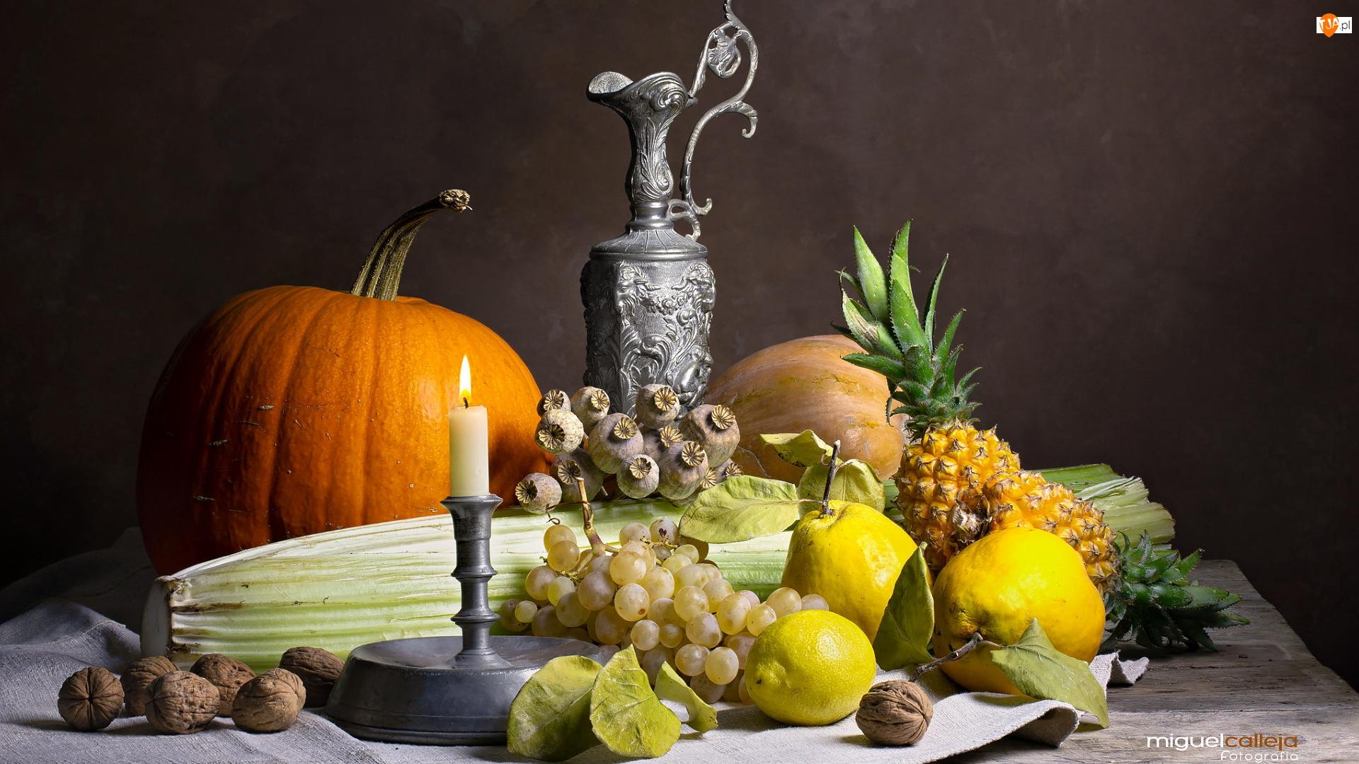 Kompozycja, Warzywa, Świeczka, Orzechy, Dzban, Dynia, Winogrona, Owoce, Ananasy