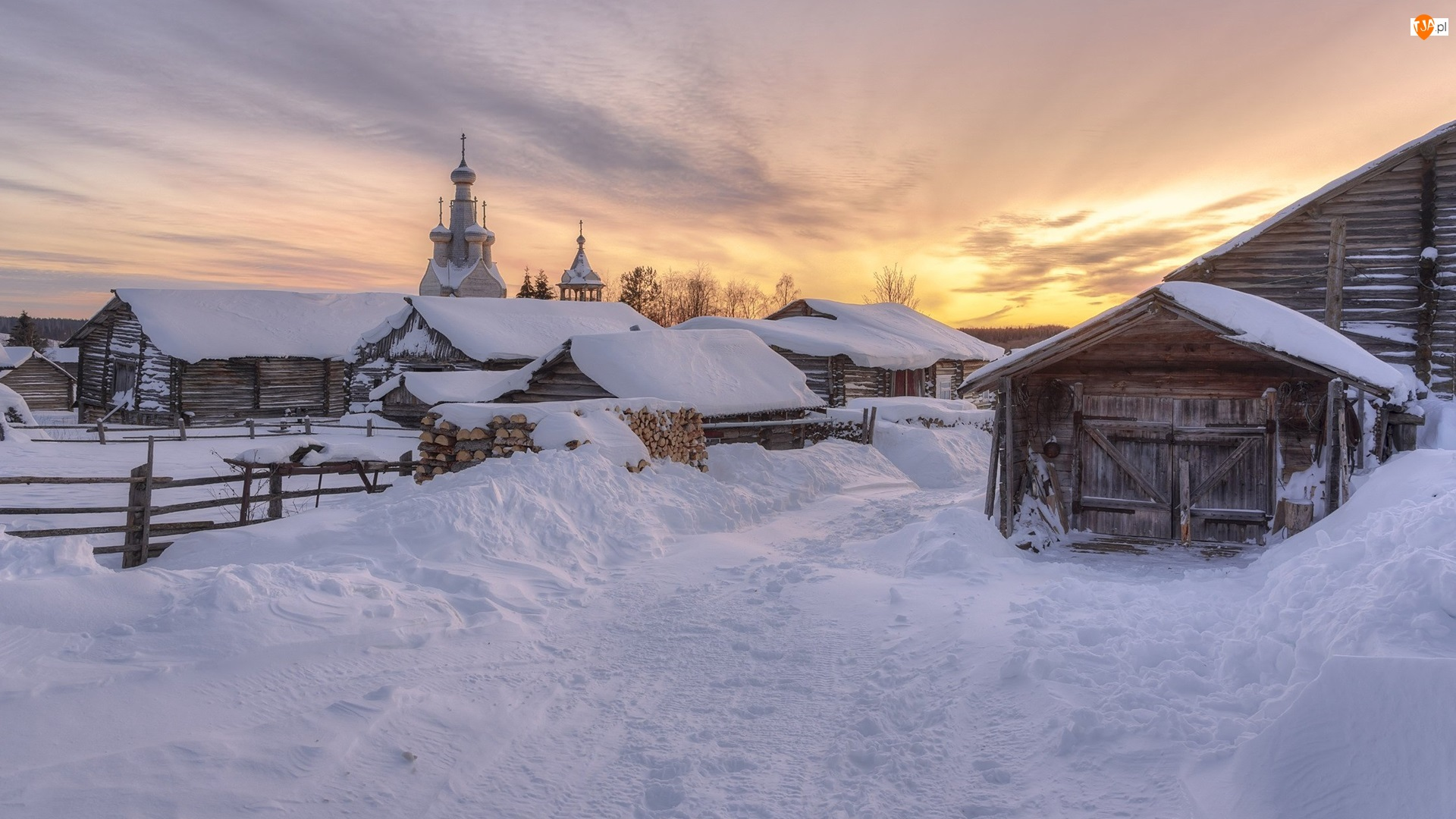 Drewniane, Zima, Szopy, Wschód słońca, Domy, Cerkiew
