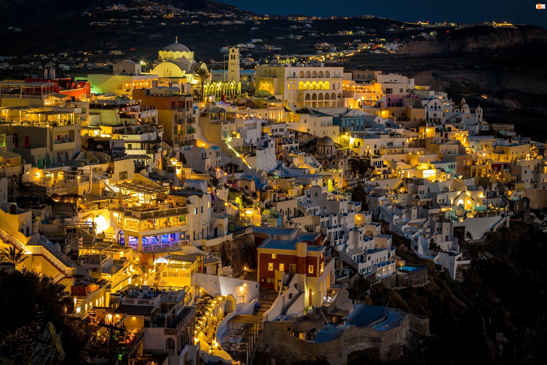 Noc, Miasto nocą, Santorini, Grecja, Domy
