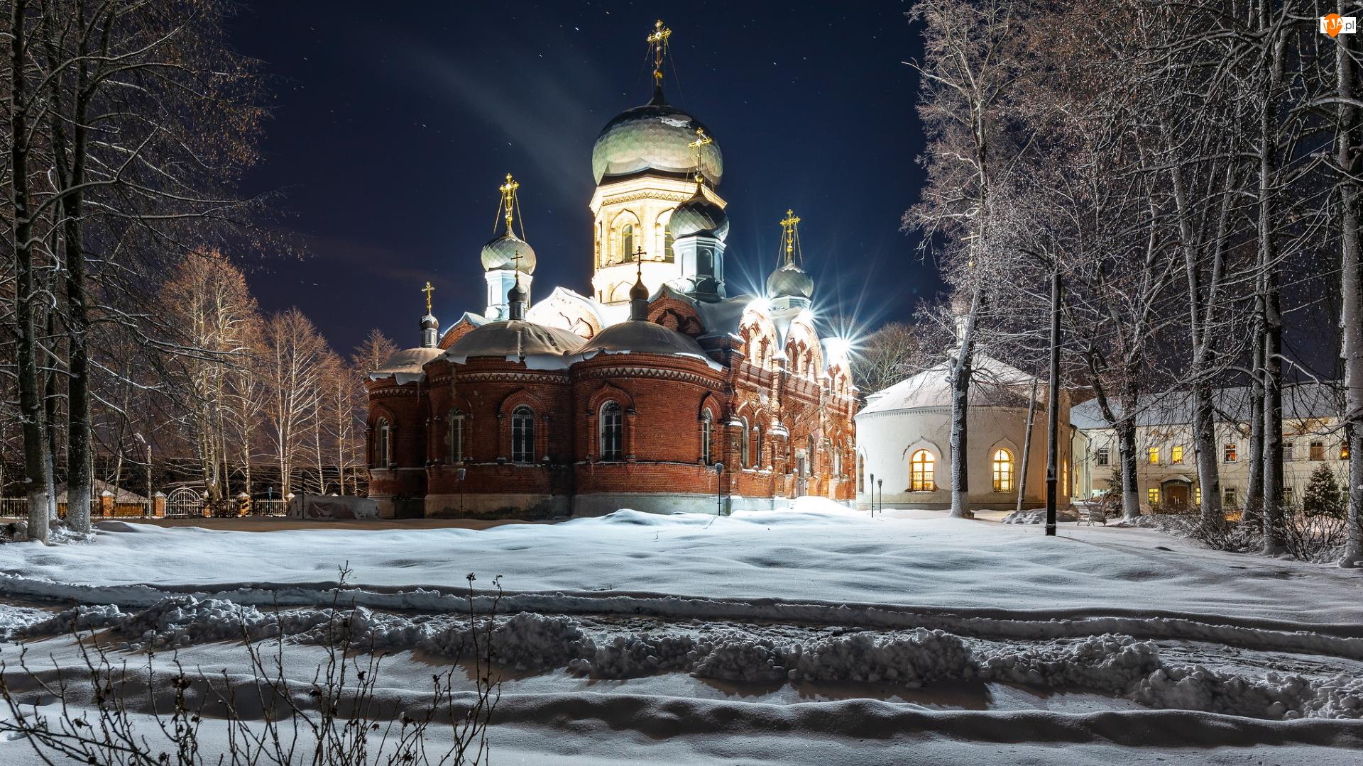 Drzewa, Cerkiew, Noc, Zima, Oświetlona