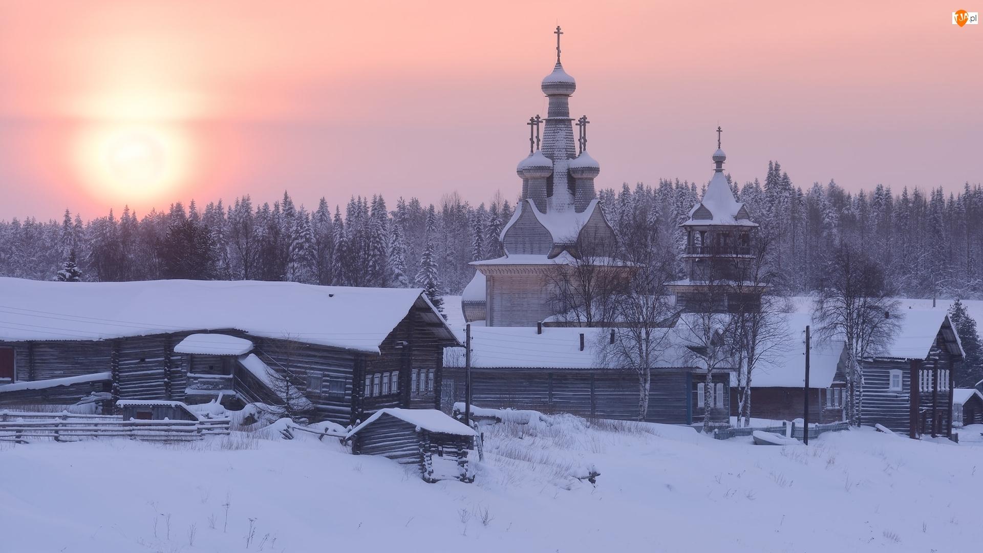 Cerkiew, Zima, Wschód słońca, Domy