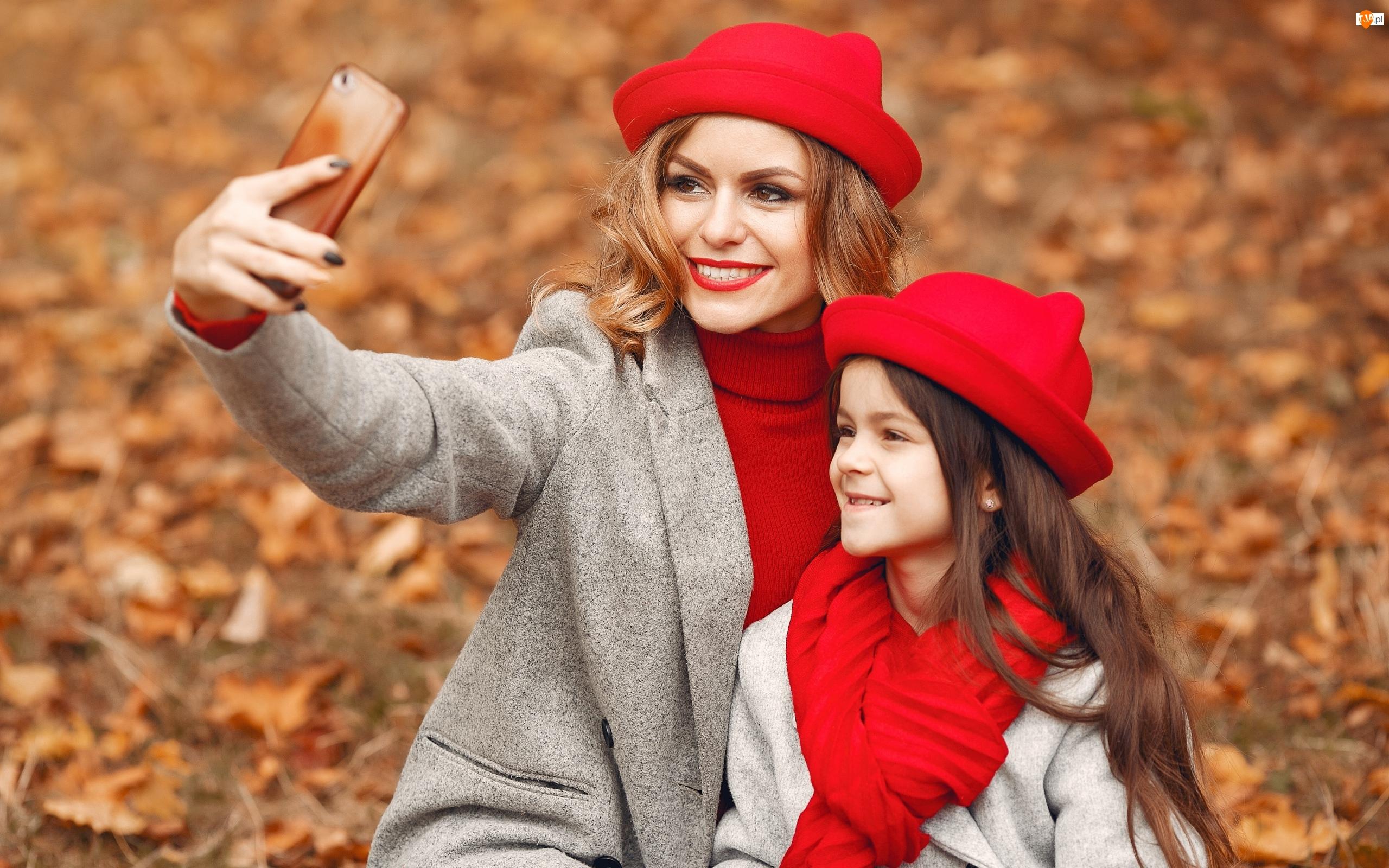 Czerwone, Telefon, Dziecko, Kobieta, Kapelusze