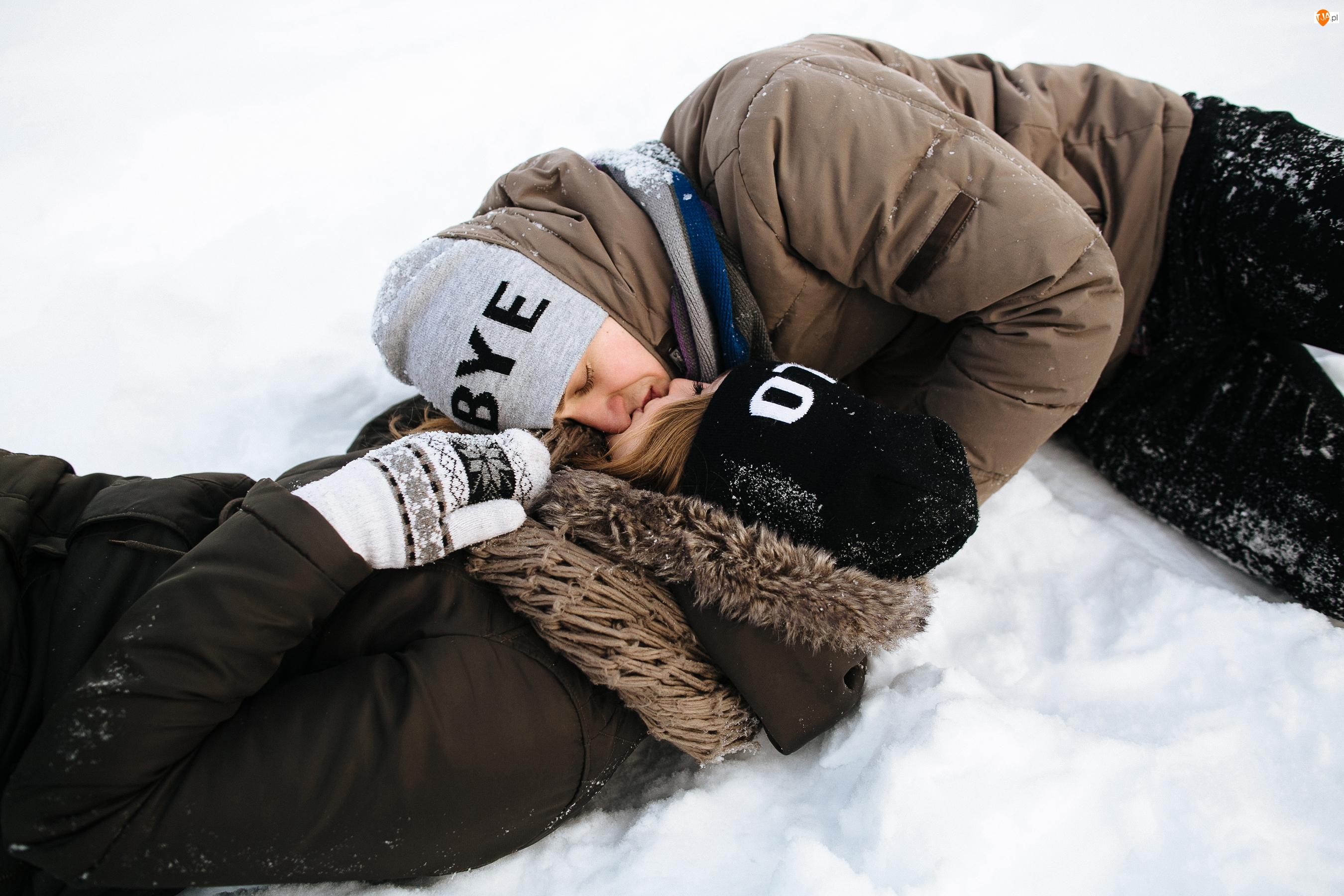 Kobieta, Ludzie, Pocałunek, Zima, Mężczyzna, Śnieg
