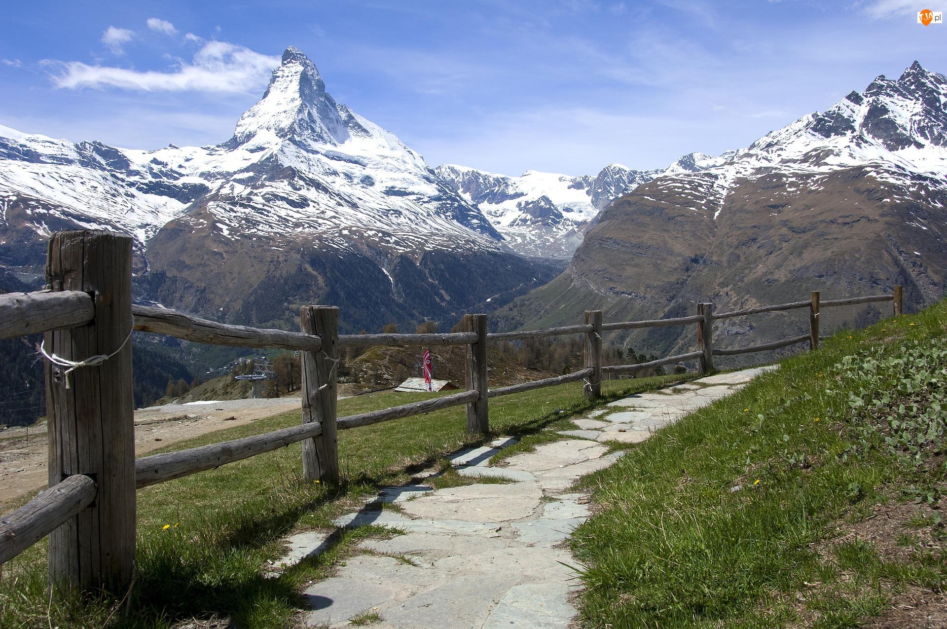 Alpy, Góry, Droga, Szwajcaria, Szczyt Matterhorn, Ogrodzenie