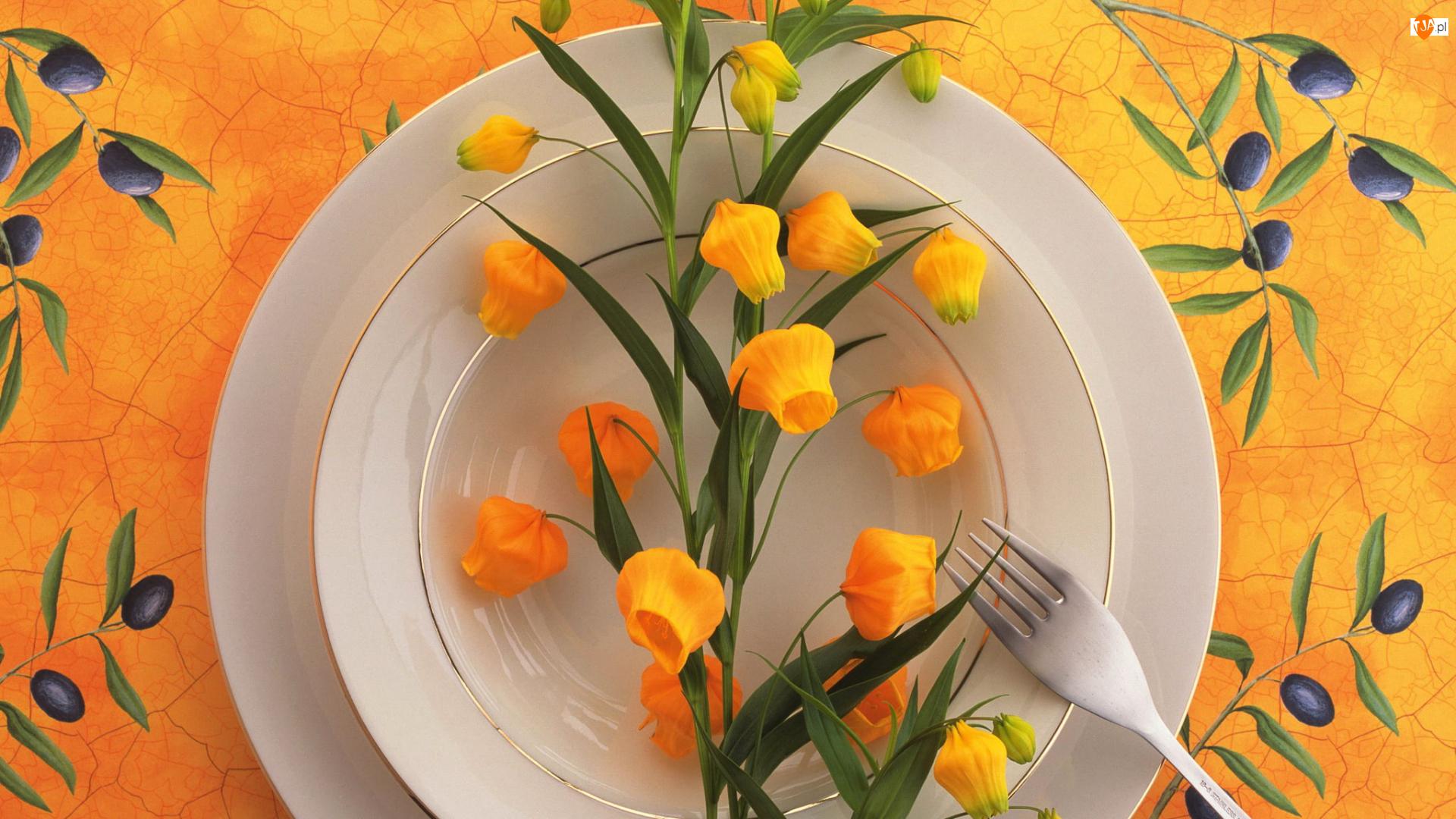 Kwiaty, Żółte, Widelec, Oliwne, Talerze, Gałązki