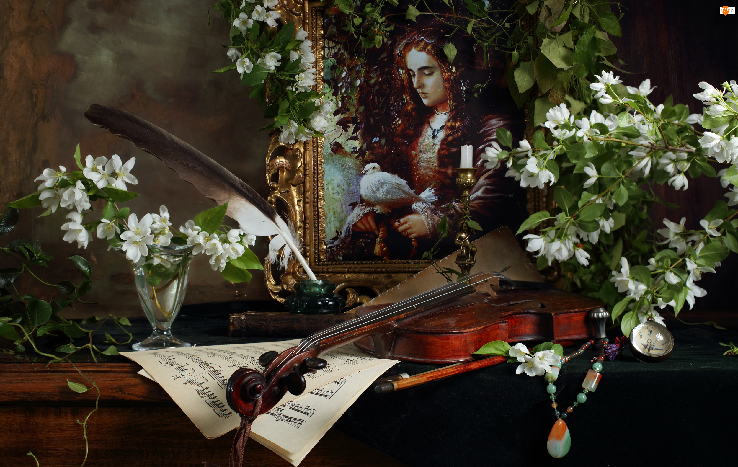 Skrzypce, Kompozycja, Obraz, Kwiaty, Nuty