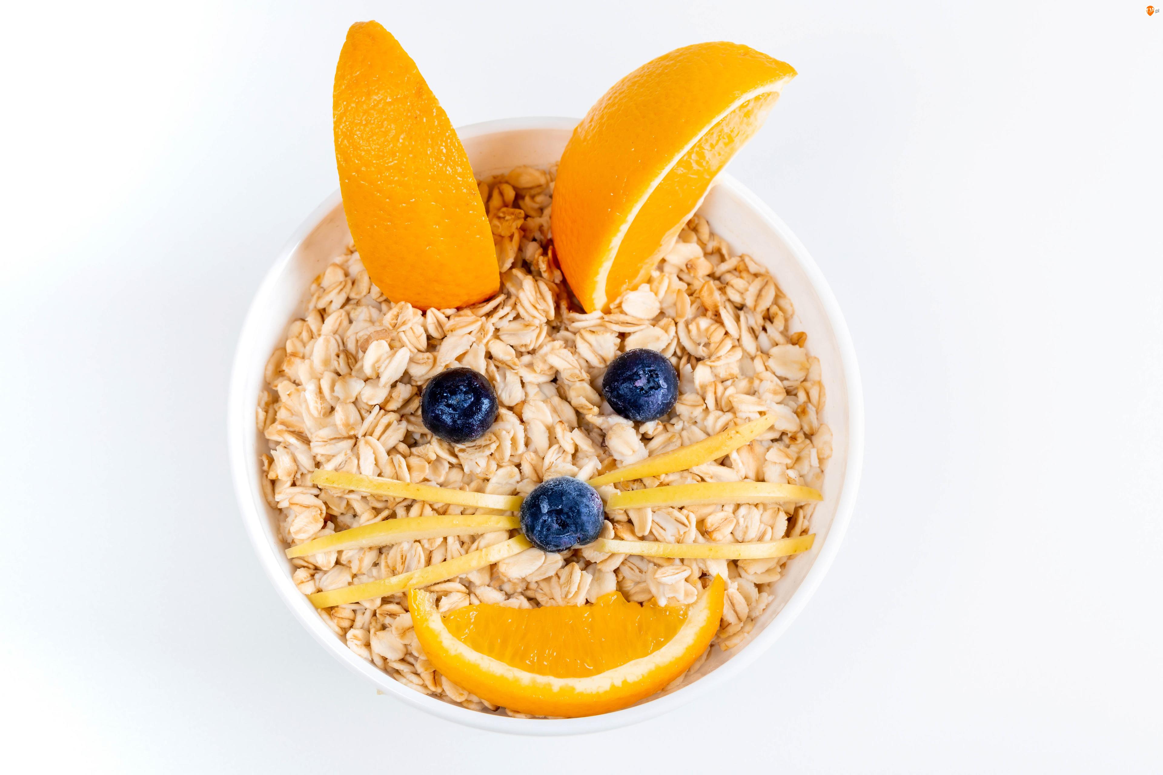 Jagody, Musli, Miska, Śniadanie, Pomarańcze, Kot