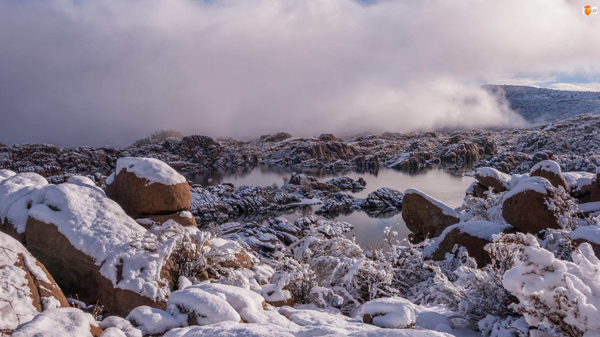Jezioro, Ośnieżone, Mgła, Śnieg, Opadająca, Gałązki, Kamienie, Zima, Skały