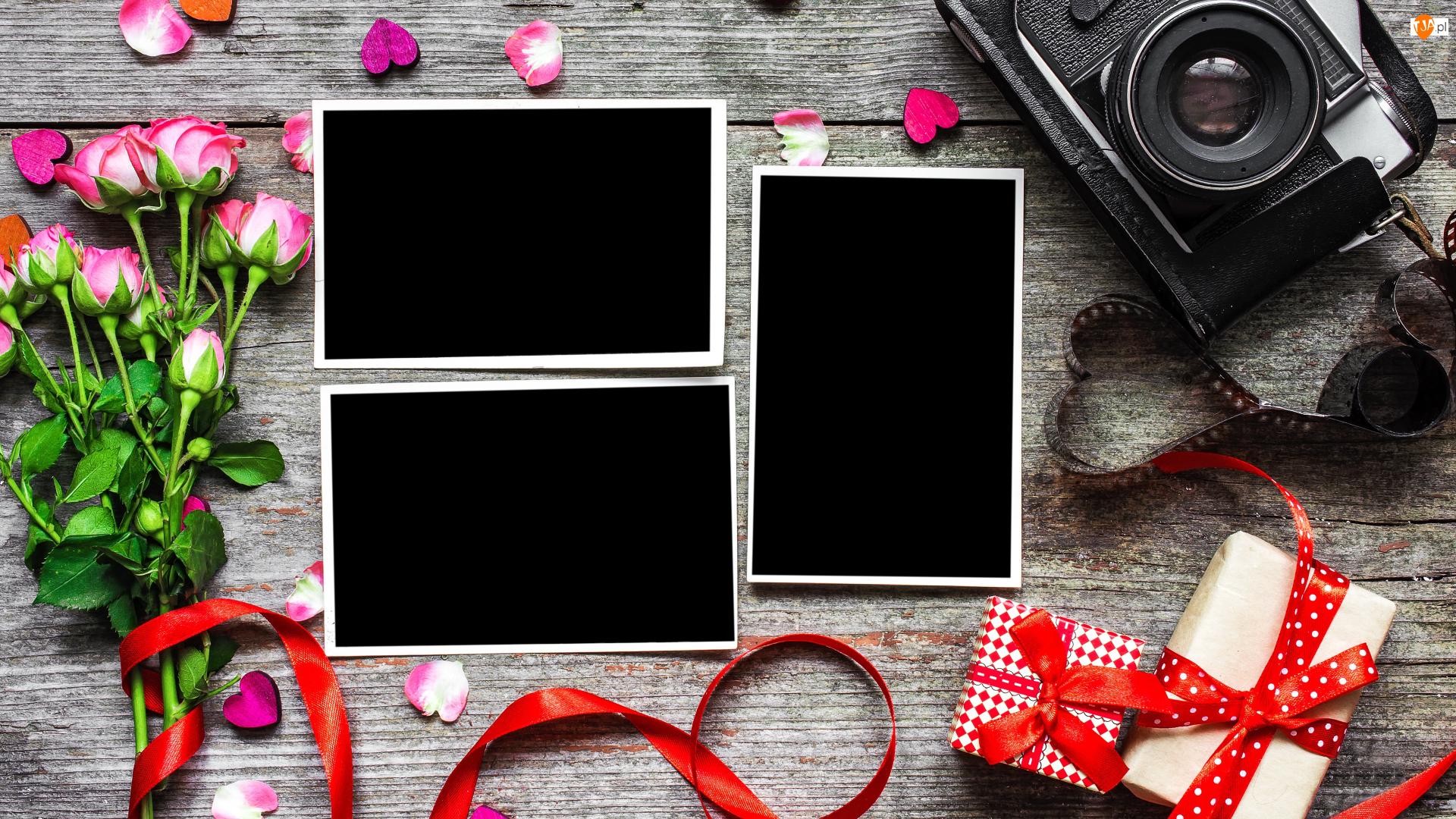 Aparat fotograficzny, Róże, Prezenty, Kokardy, Zdjęcia, Kolorowe