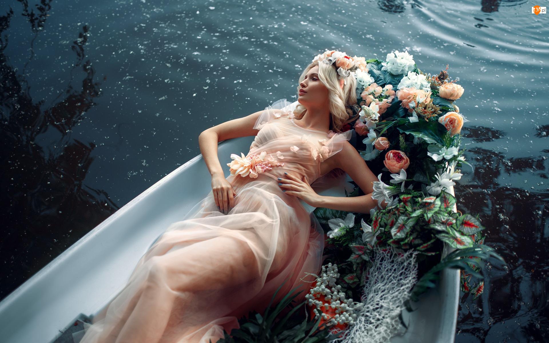 Suknia, Kwiaty, Blondynka, Kobieta, Łódka
