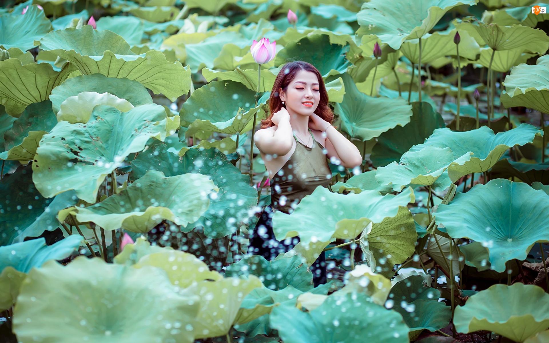 Lotosu, Kwiaty, Kobieta, Uśmiech, Liście, Azjatka