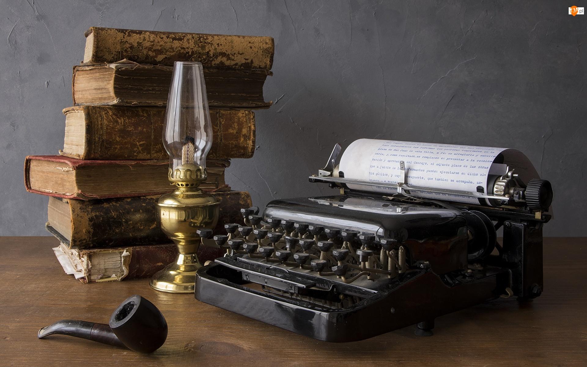 Stara, Książki, Lampa, Kompozycja, Maszyna do pisania, Fajka