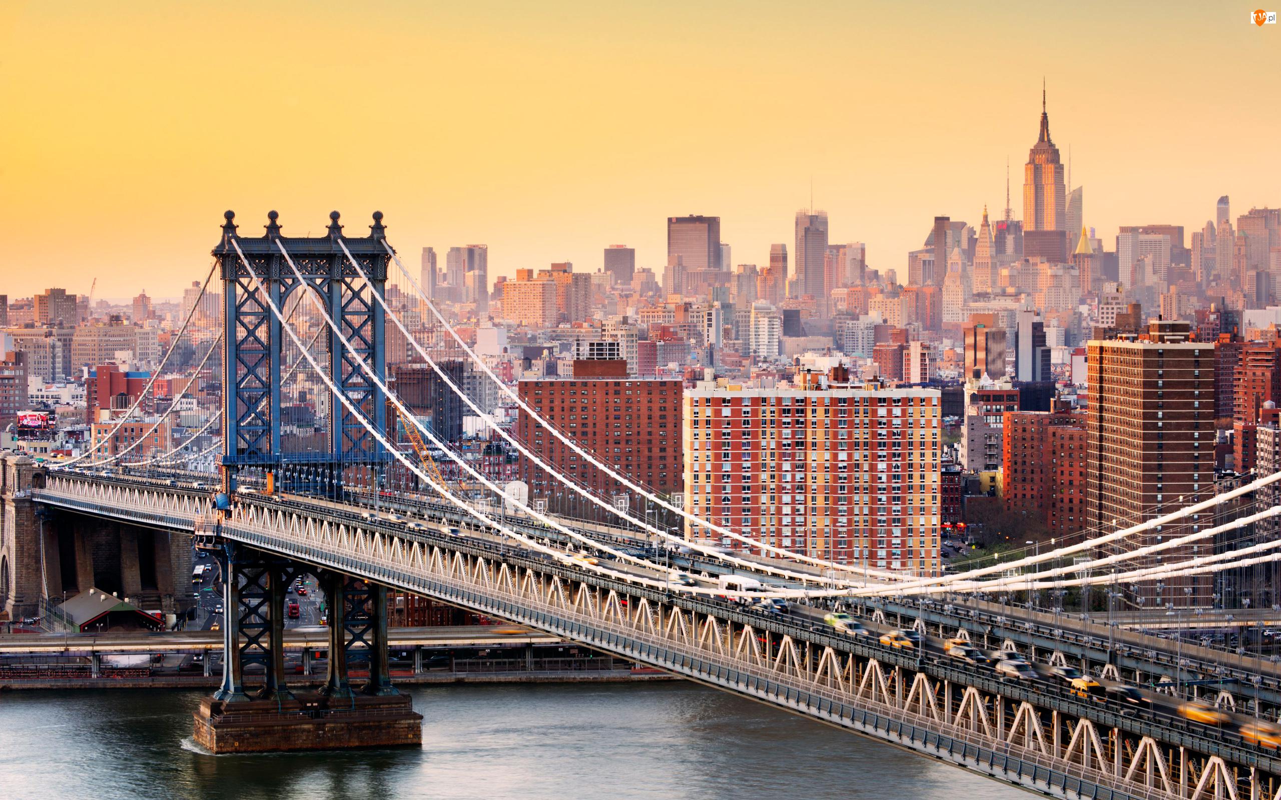 Most Brookliński, Brooklyn Bridge, Stany Zjednoczone, Most, Nowy Jork, Manhattan, Domy