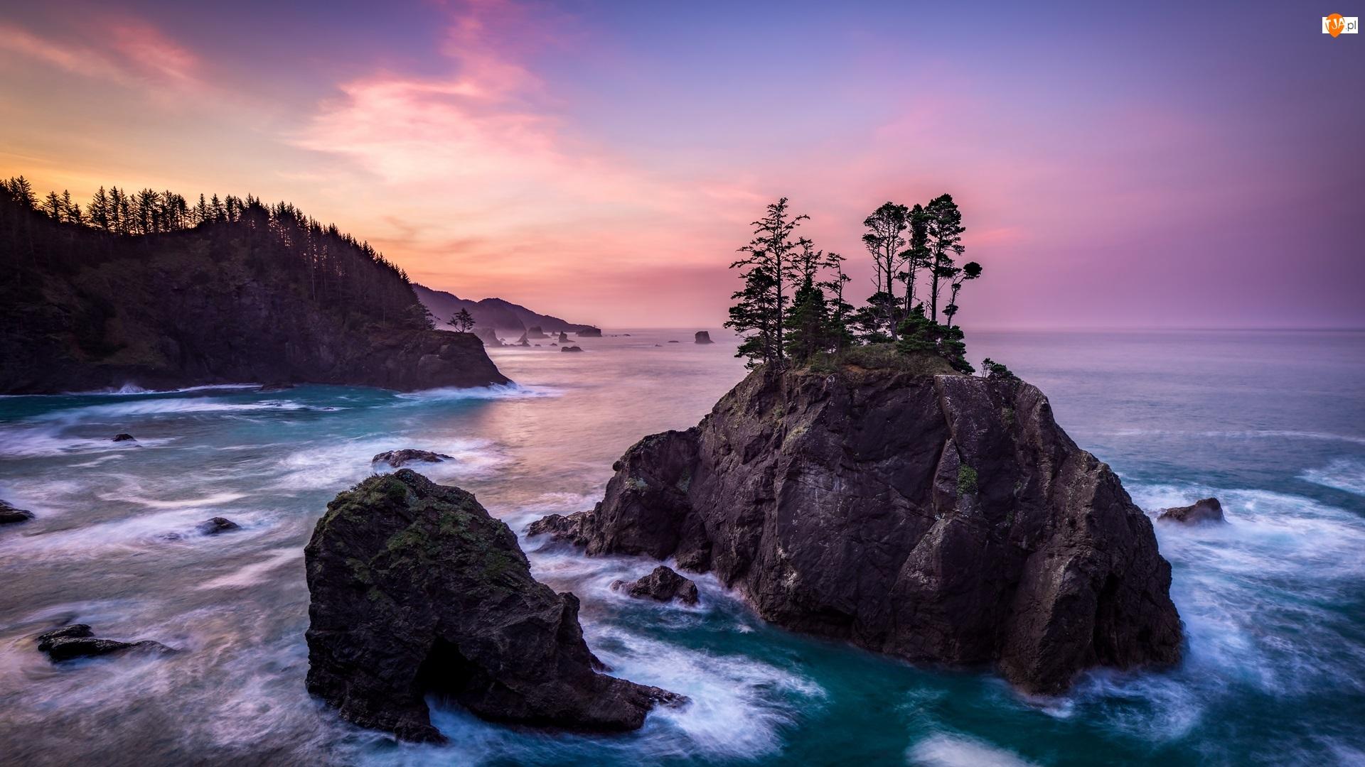 Stany Zjednoczone, Park stanowy, Samuel H Boardman State Scenic Corridor, Wschód słońca, Skały, Morze, Wysepka, Drzewa, Wybrzeże, Oregon