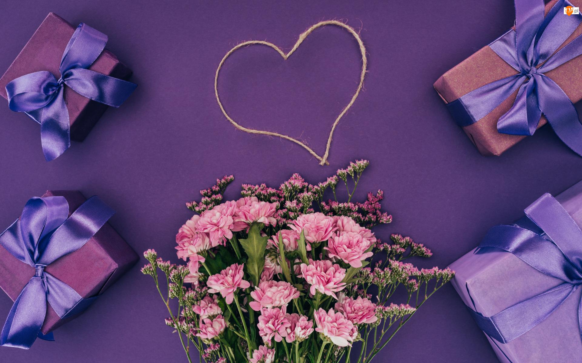 Bukiet, Serce, Chryzantemy, Kwiaty, Prezenty