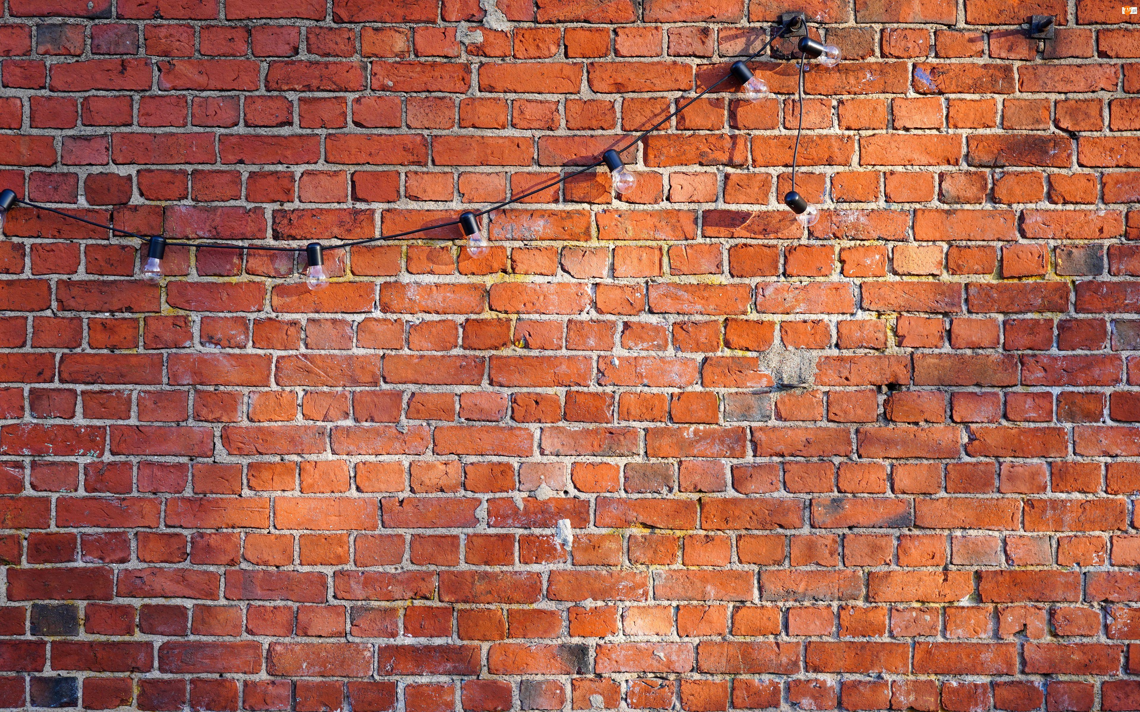 Żarówki, Ściana, Cegła, Girlanda