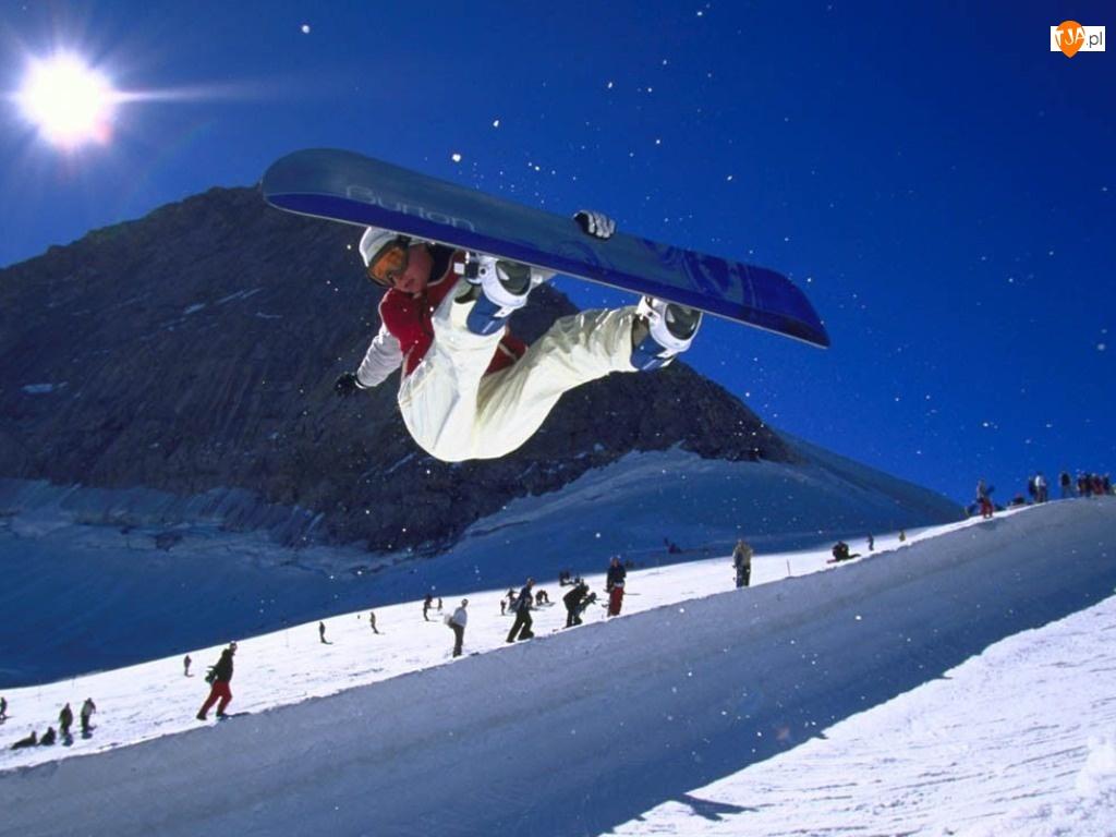 Snowbording, snowboardzistka, deska , śnieg