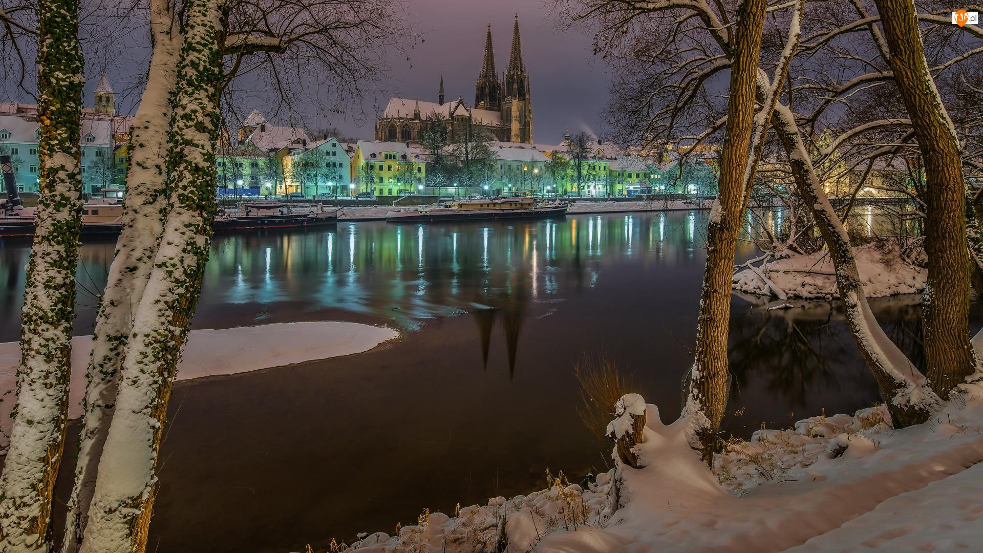 Niemcy, Drzewa, Zima, Kościół, Miasto Ratyzbona, Regensburg, Domy, Rzeka Dunaj, Katedra Św. Piotra, Bawaria