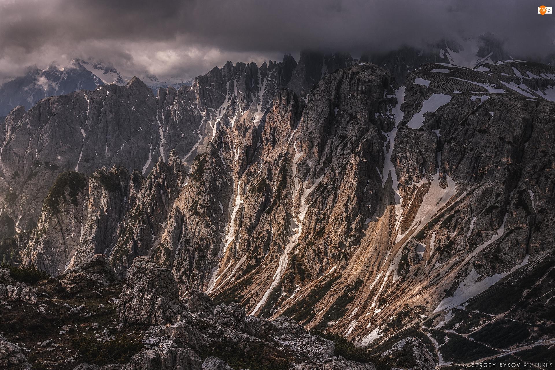 Dolomity, Góry, Szczyty, Mgła, Alpy, Skały